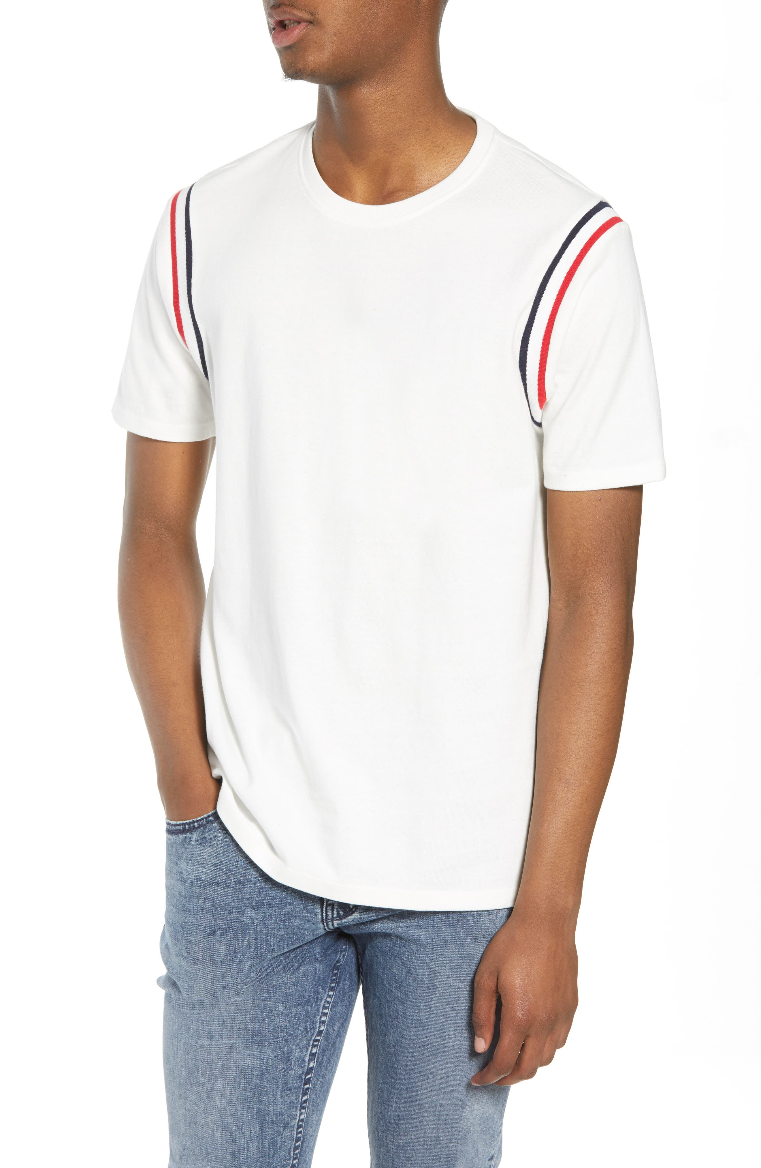 Ribbed Stripe T-Shirt,                             Main thumbnail 1, color,                             White