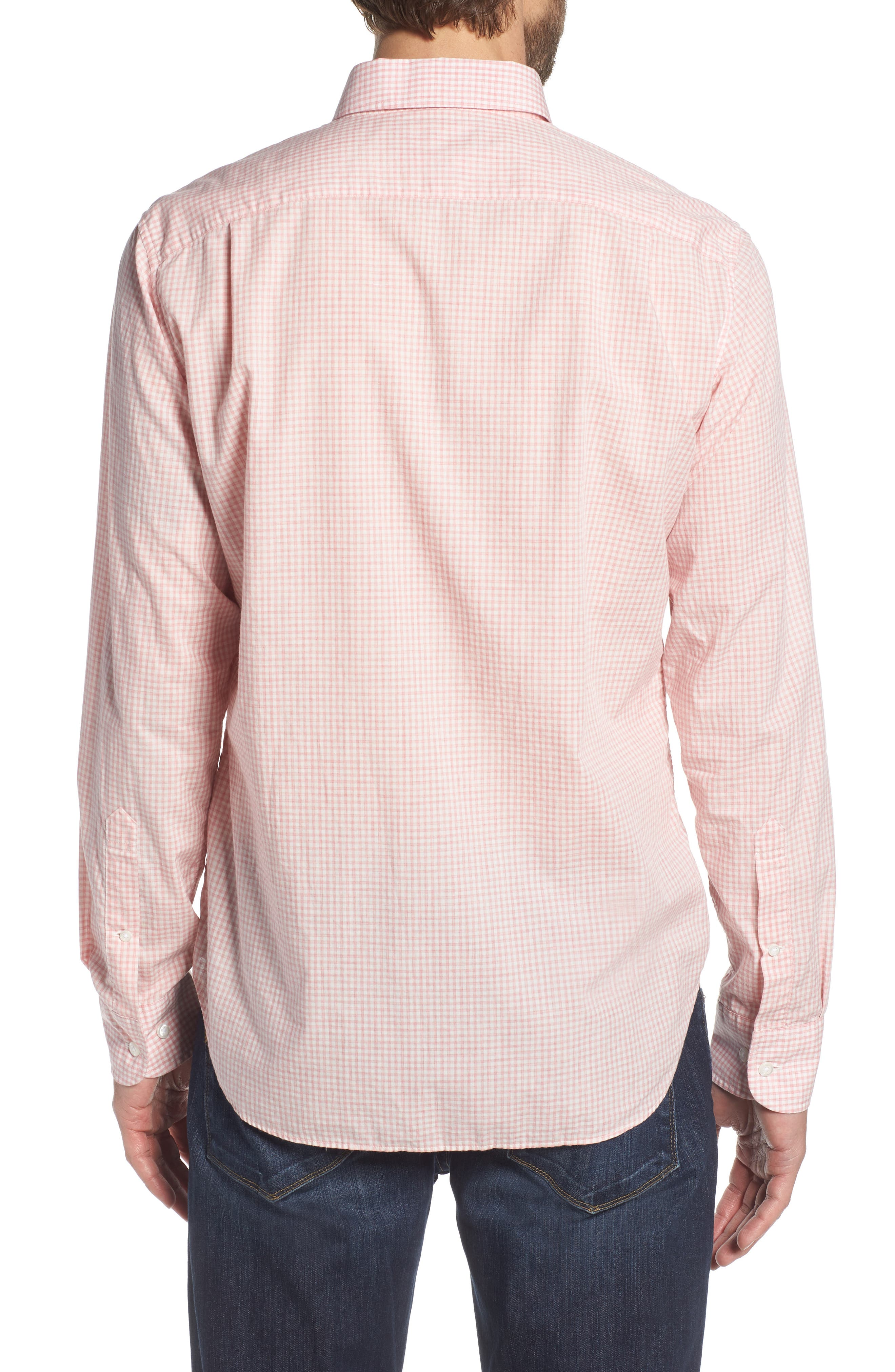 Summerweight Slim Fit Check Sport Shirt,                             Alternate thumbnail 3, color,                             Mini Gingham - Heather Rose