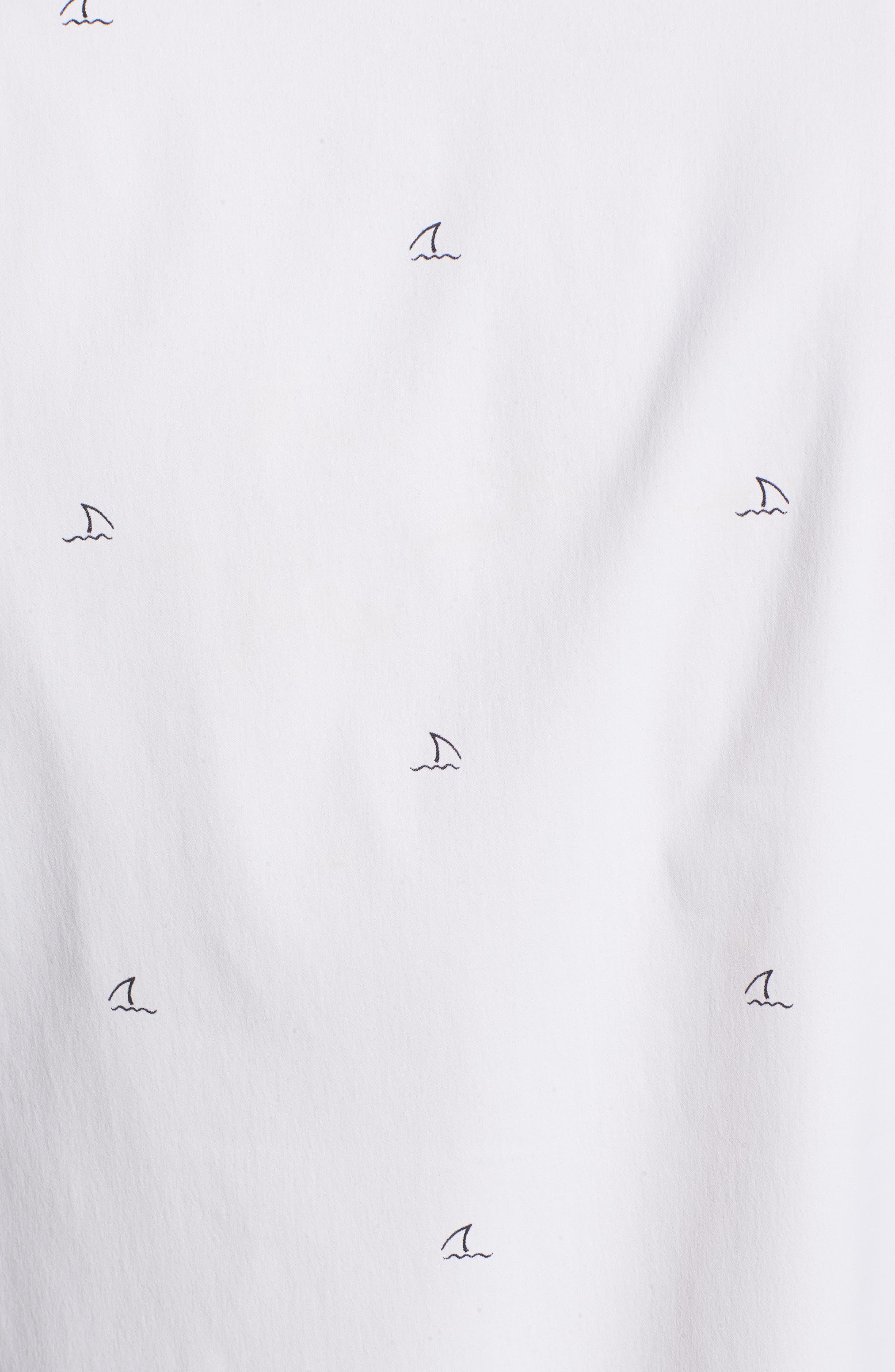 Slim Fit Shark Fin Print Performance Sport Shirt,                             Alternate thumbnail 3, color,                             Shark Fin - White