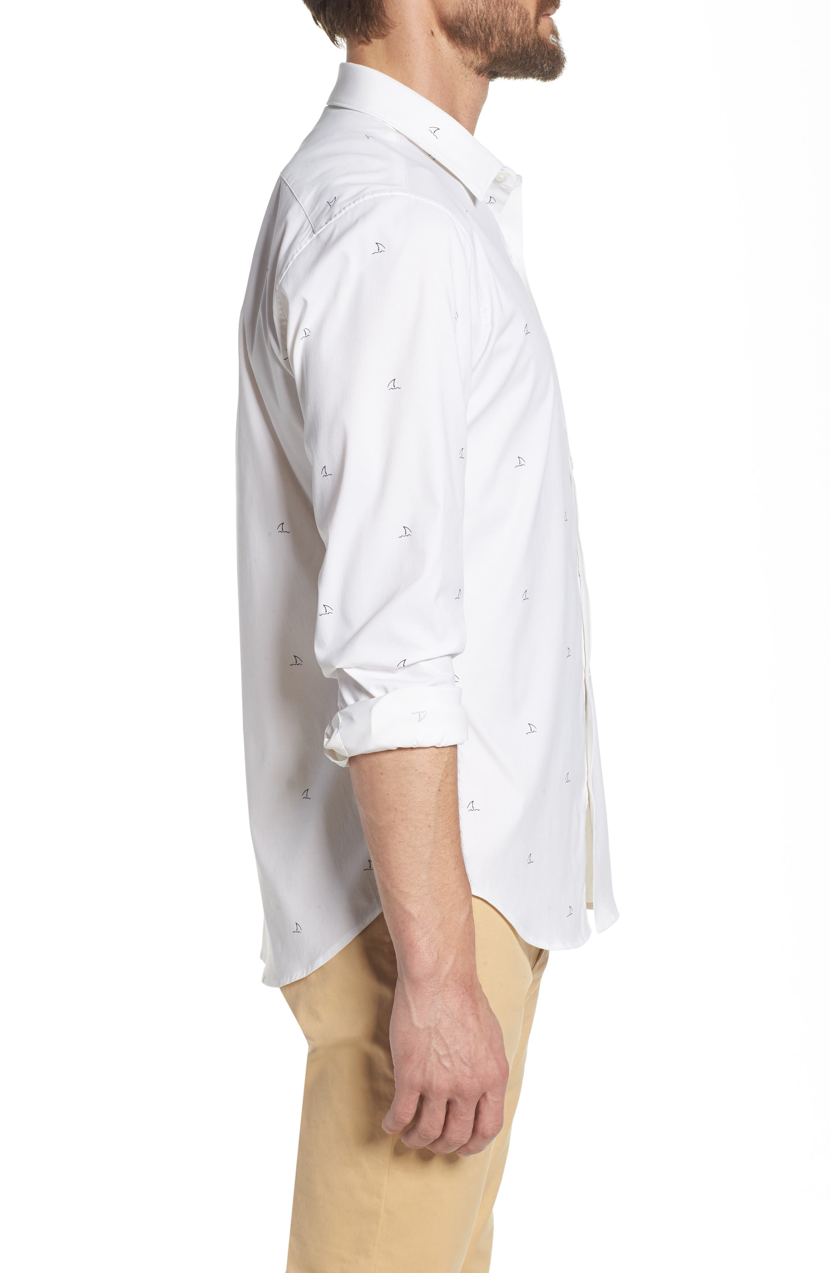 Slim Fit Shark Fin Print Performance Sport Shirt,                             Alternate thumbnail 5, color,                             Shark Fin - White