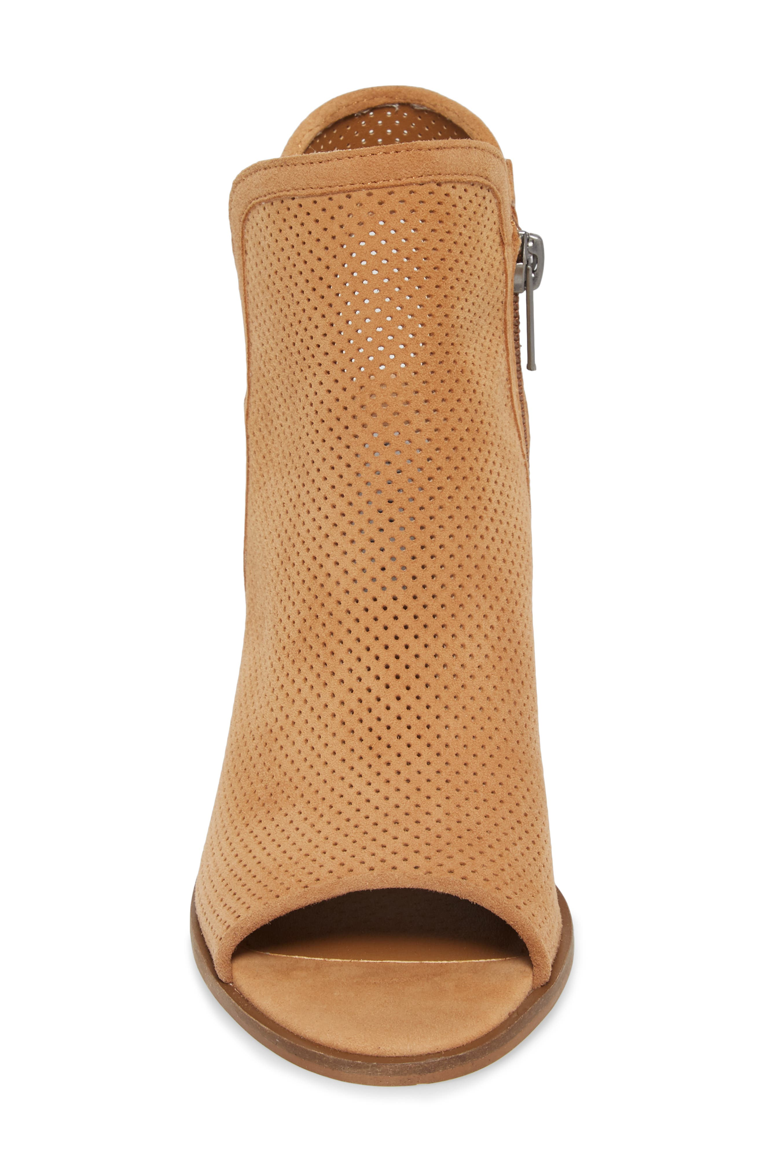 Maxine Perforated Bootie,                             Alternate thumbnail 4, color,                             Cognac Suede