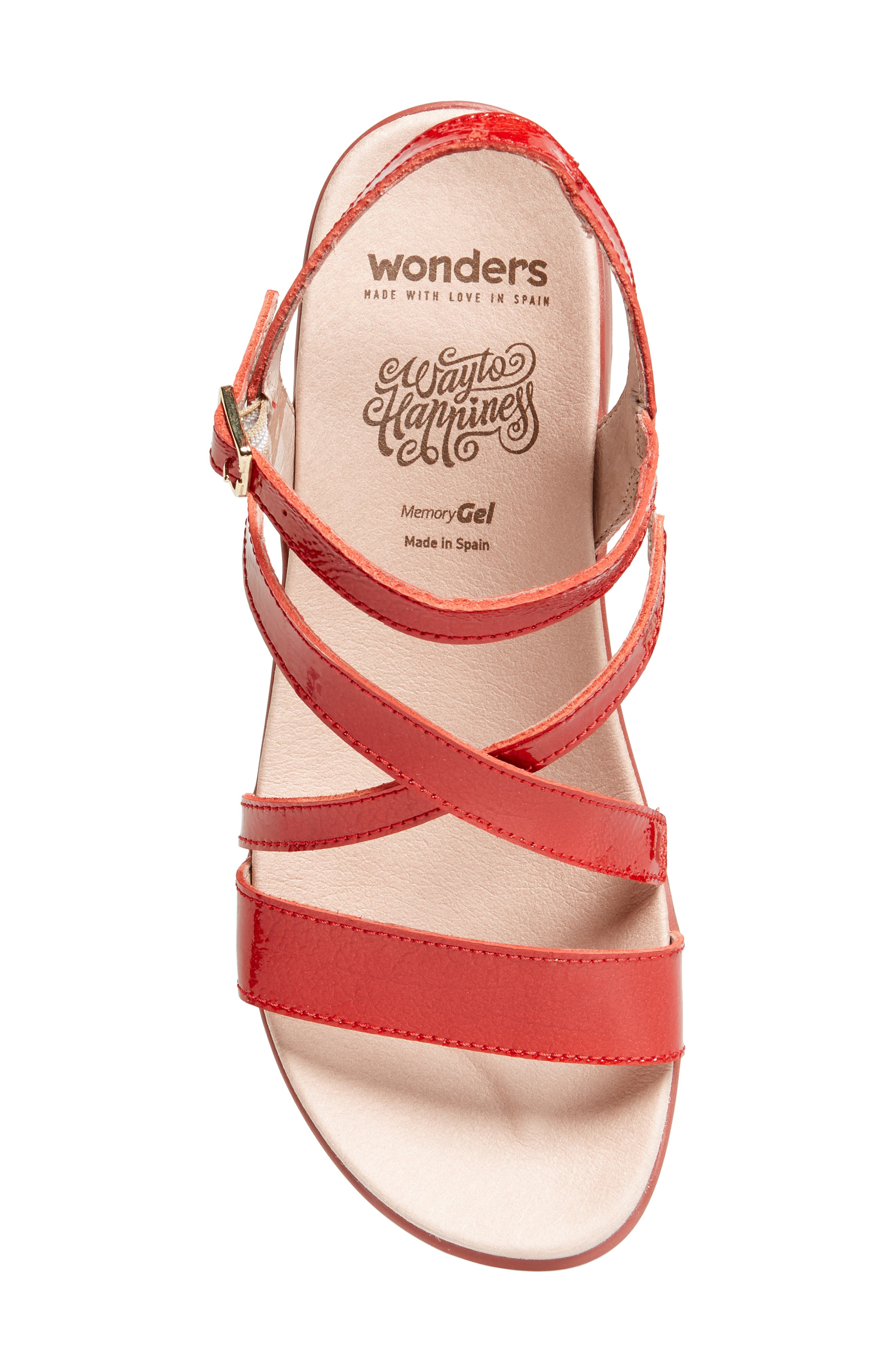 Wedge Sandal,                             Alternate thumbnail 5, color,                             Red Patent Leather