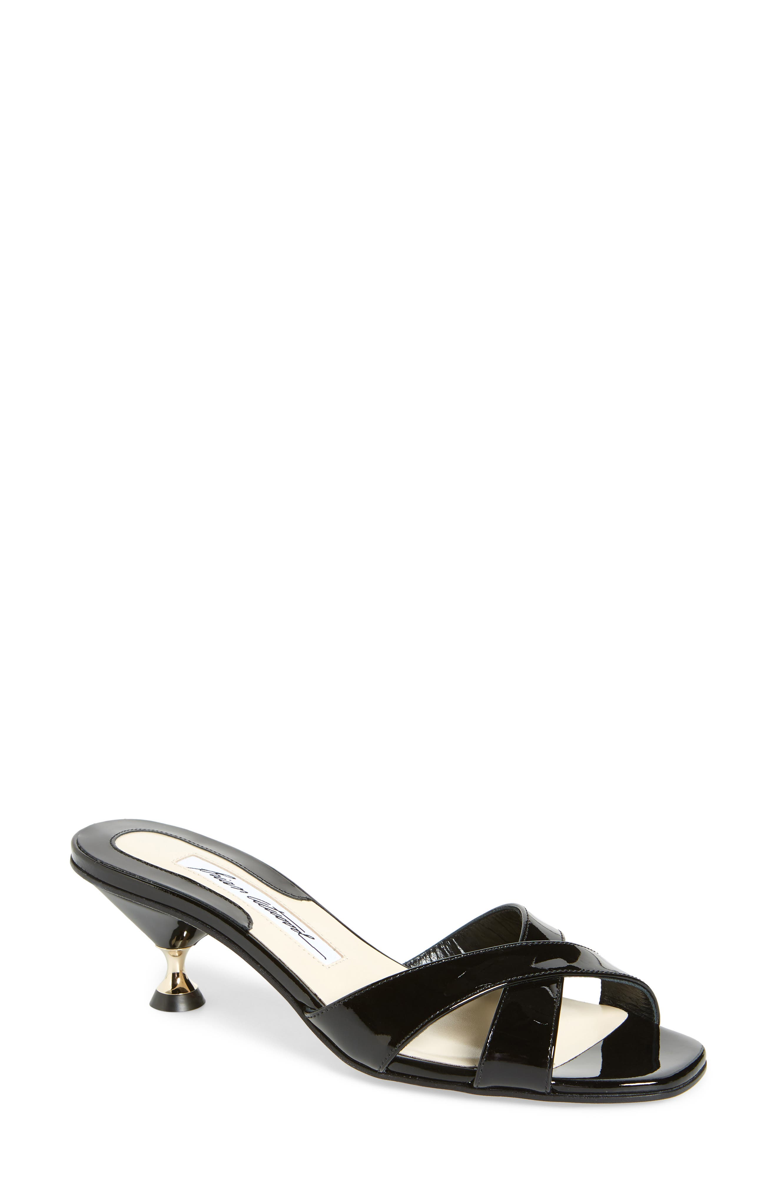Cinzia Crisscross Slide,                         Main,                         color, Black Patent