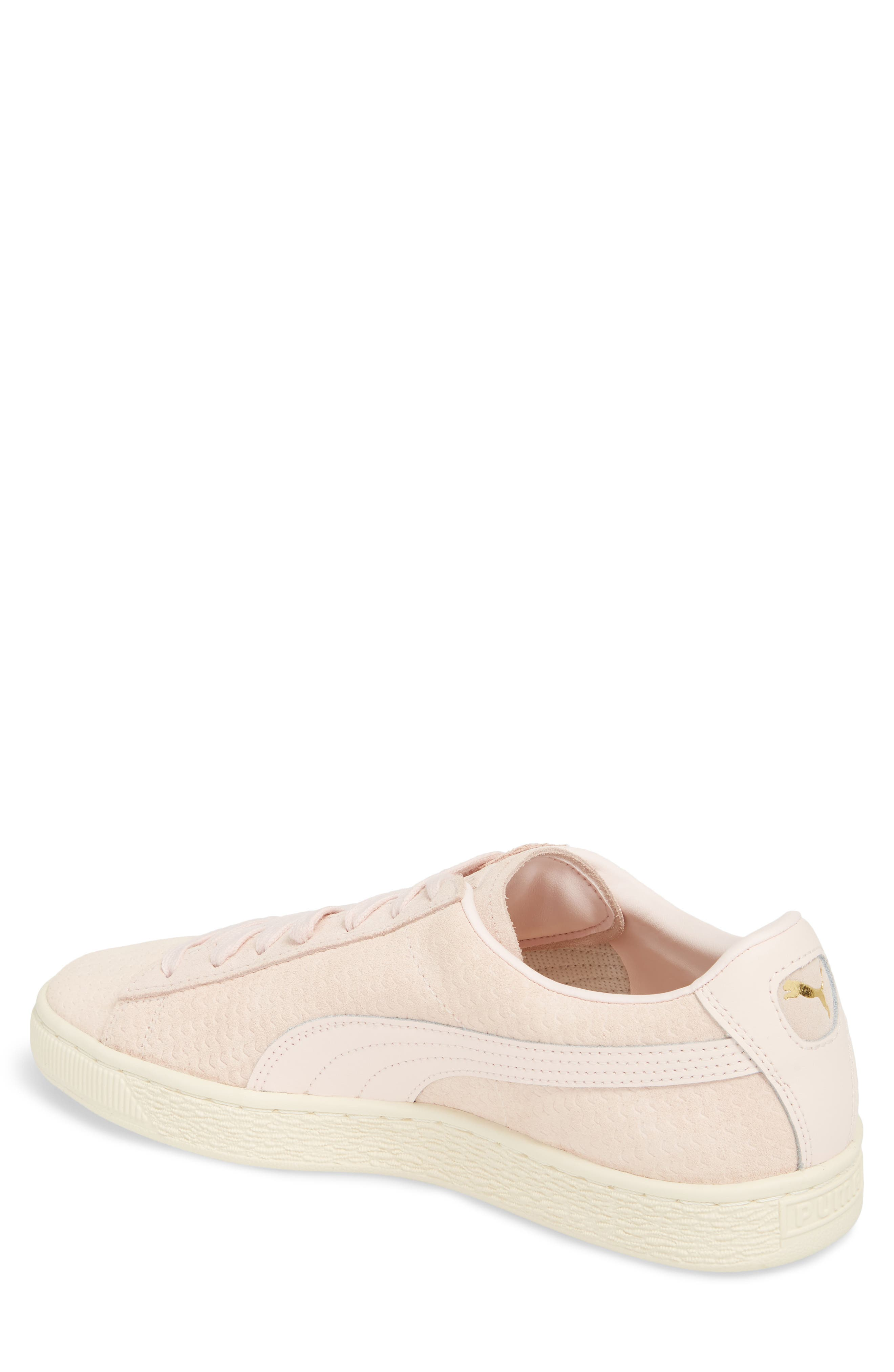 Suede Classic Perforation Sneaker,                             Alternate thumbnail 2, color,                             Pearl/ Whisper White Suede