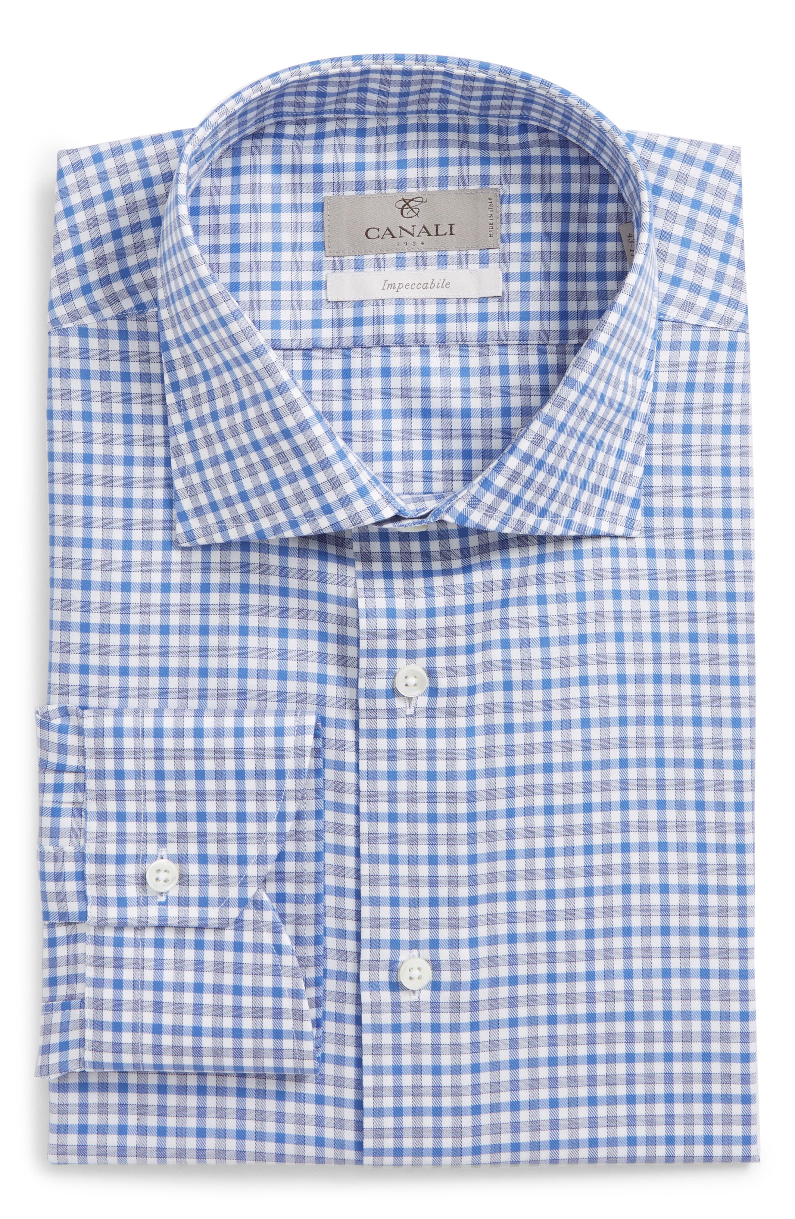 Regular Fit Non-Iron Check Dress Shirt,                             Alternate thumbnail 6, color,                             Med Blue