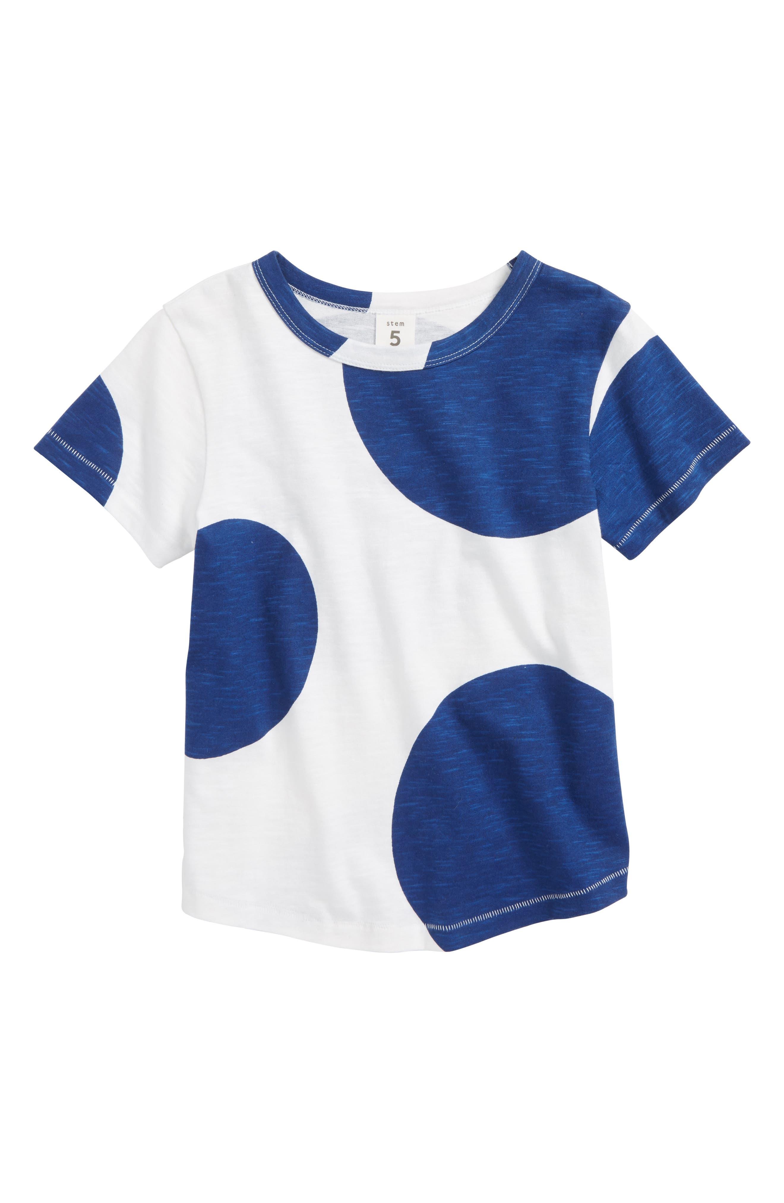 Print T-Shirt,                         Main,                         color, White- Blue Dots