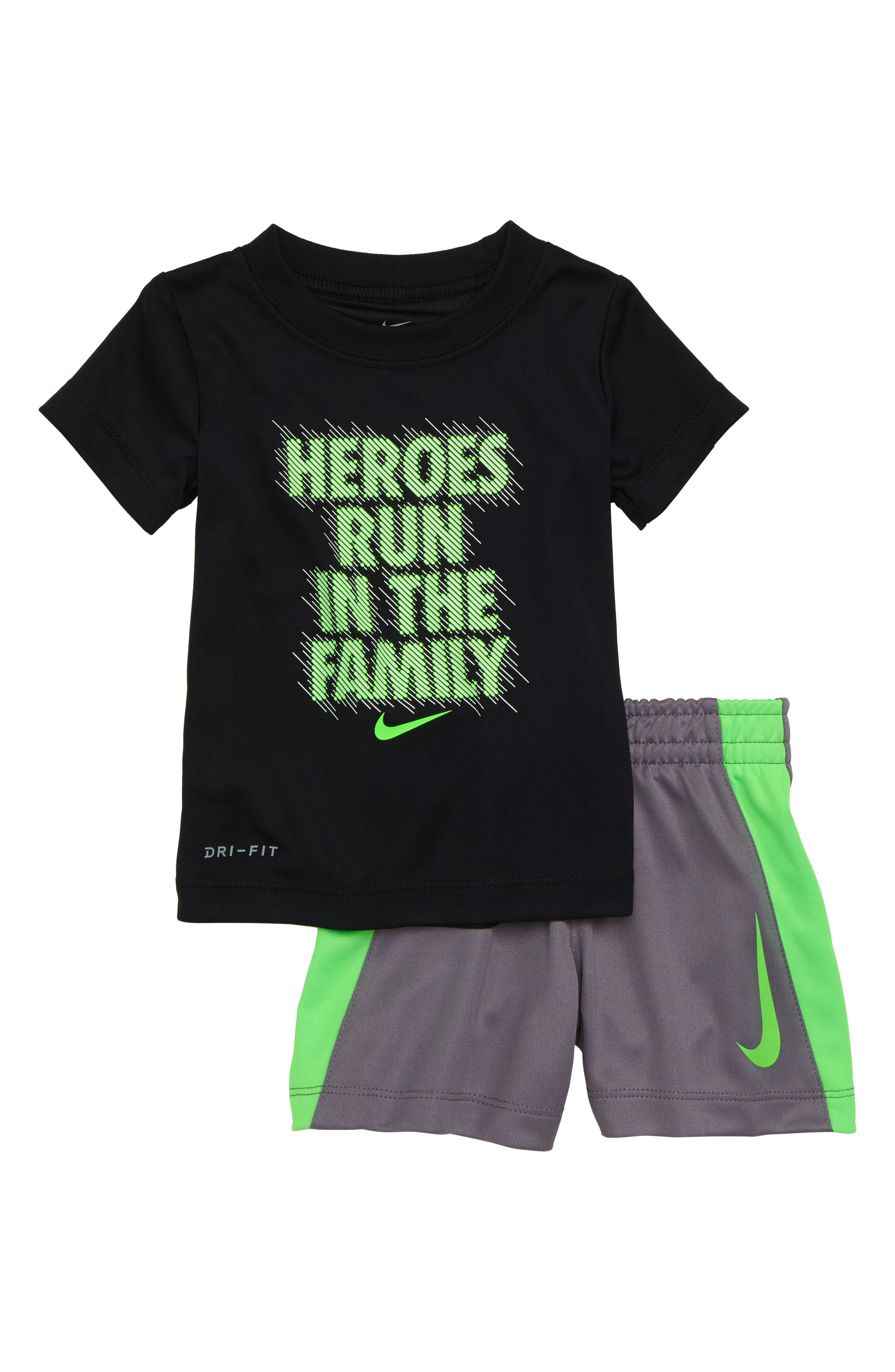 Dry Heroes Run in the Family Tee & Shorts Set,                             Main thumbnail 1, color,                             Black