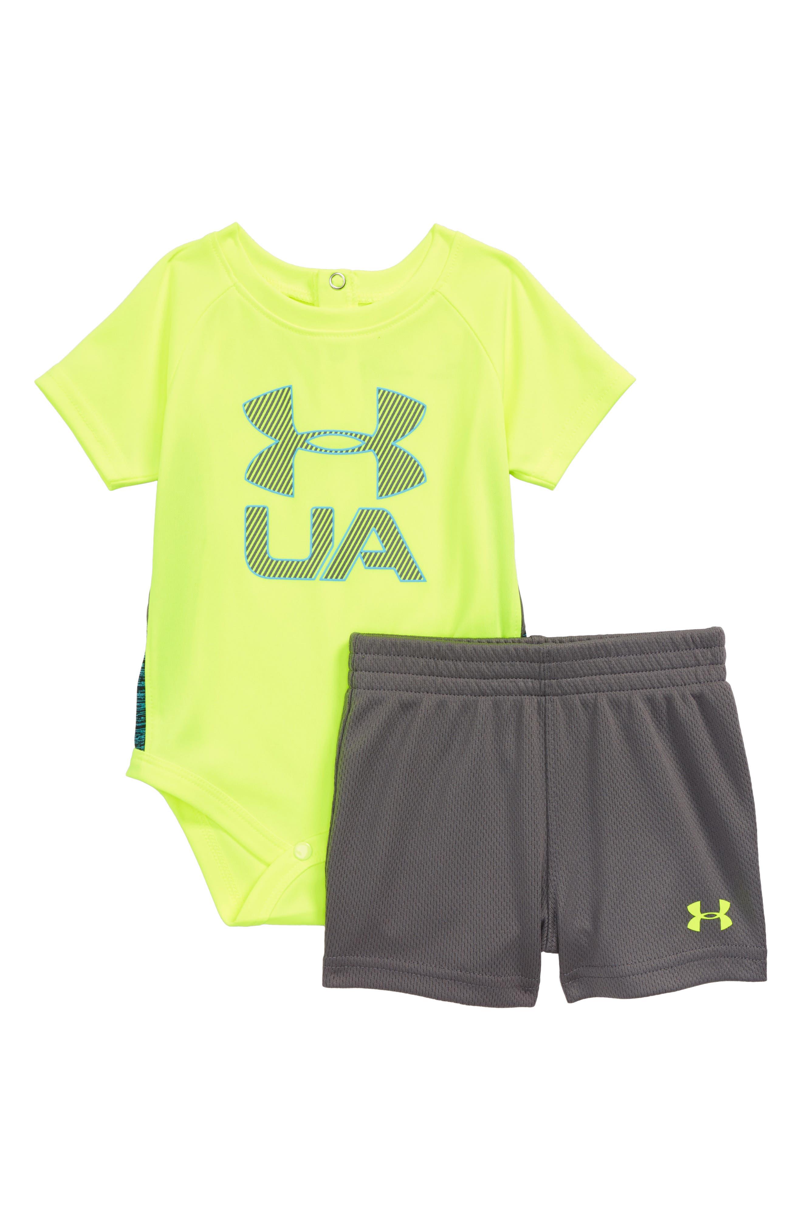 Sportster Bodysuit & Shorts Set,                             Main thumbnail 1, color,                             Hi Vis Yellow