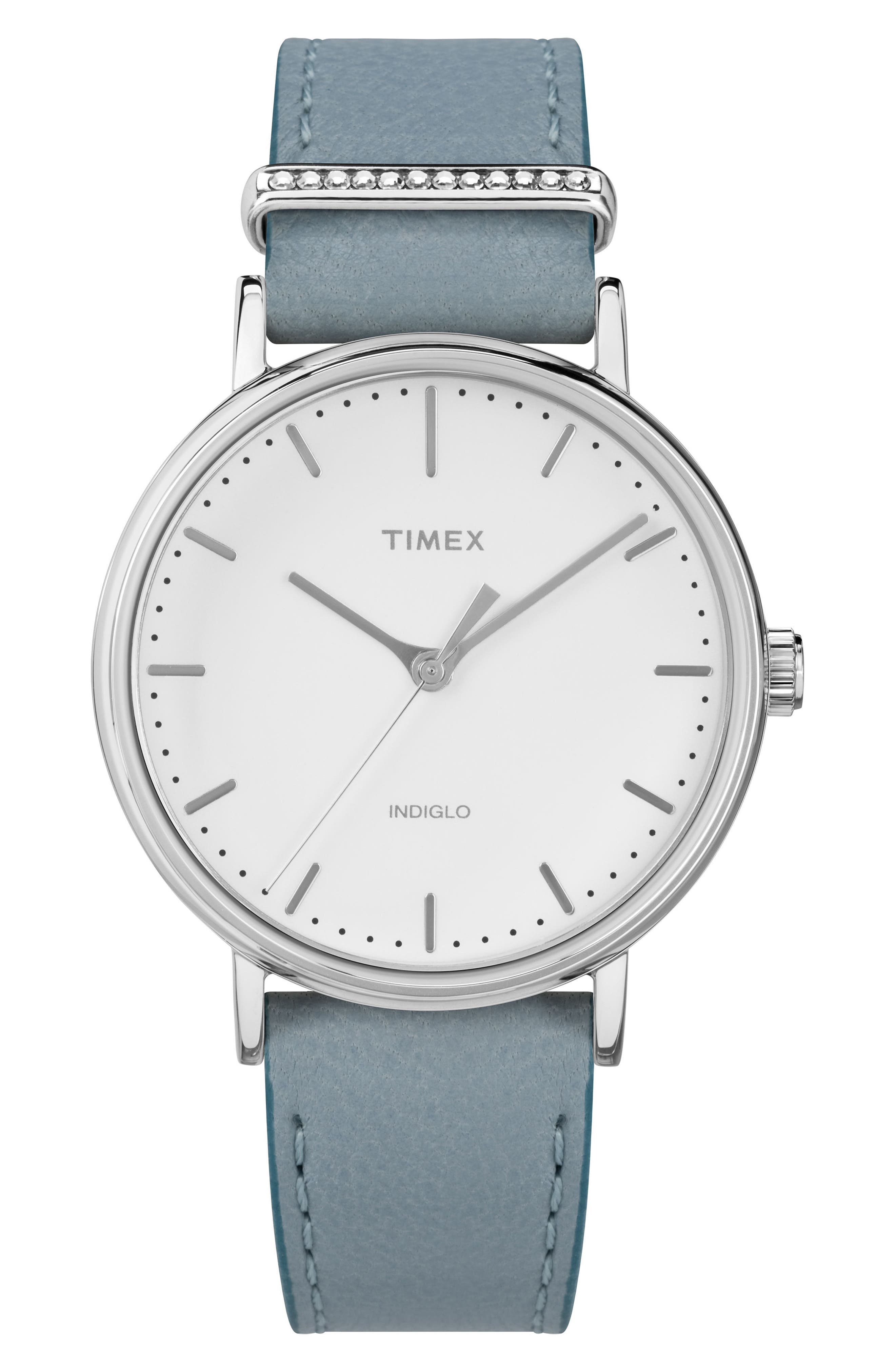 Timex Fairfield Leather Strap Watch, 37mm,                             Main thumbnail 1, color,                             Blue/White/Silver