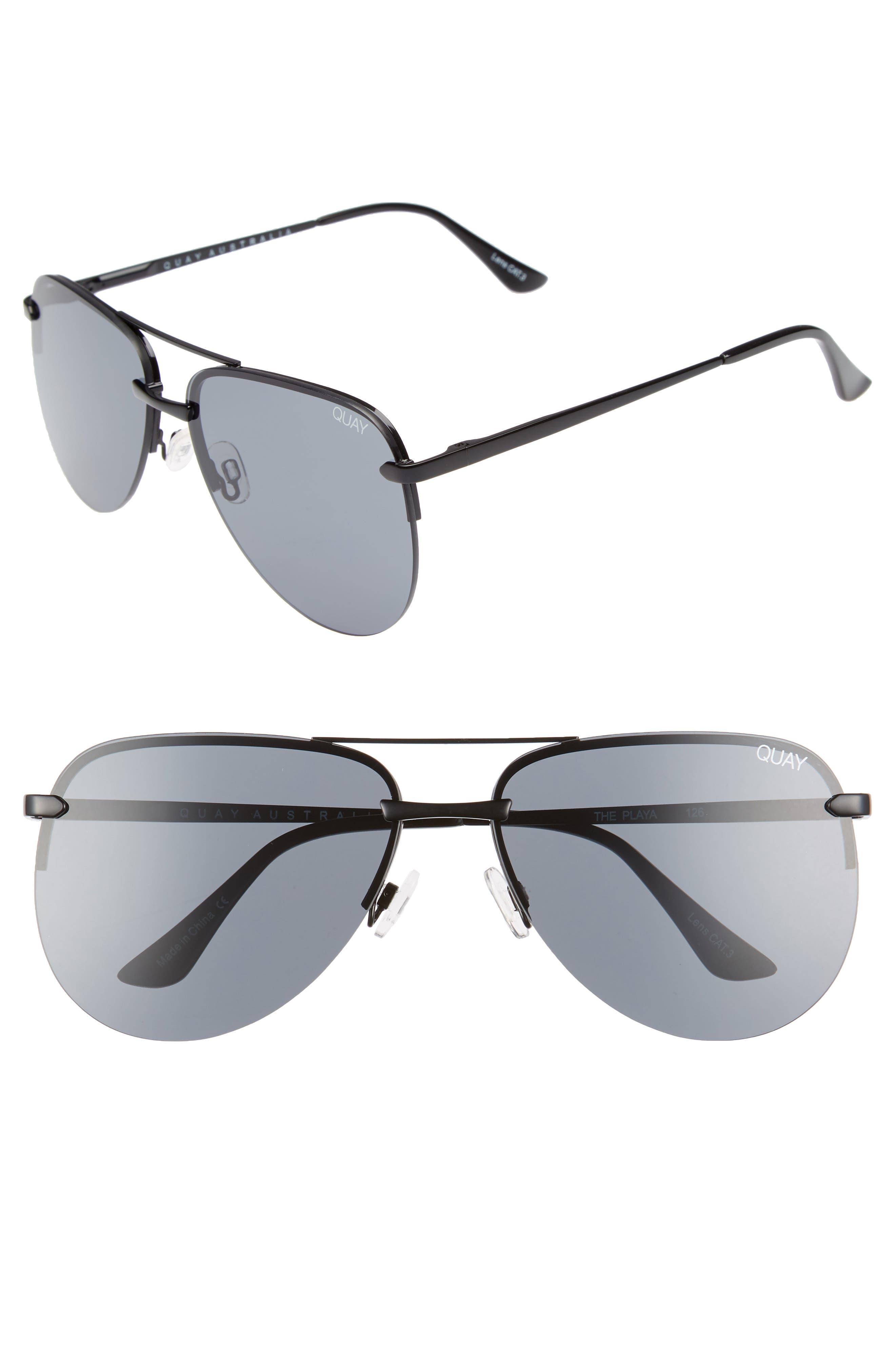 The Playa 64mm Aviator Sunglasses,                             Main thumbnail 1, color,                             Black/ Smoke