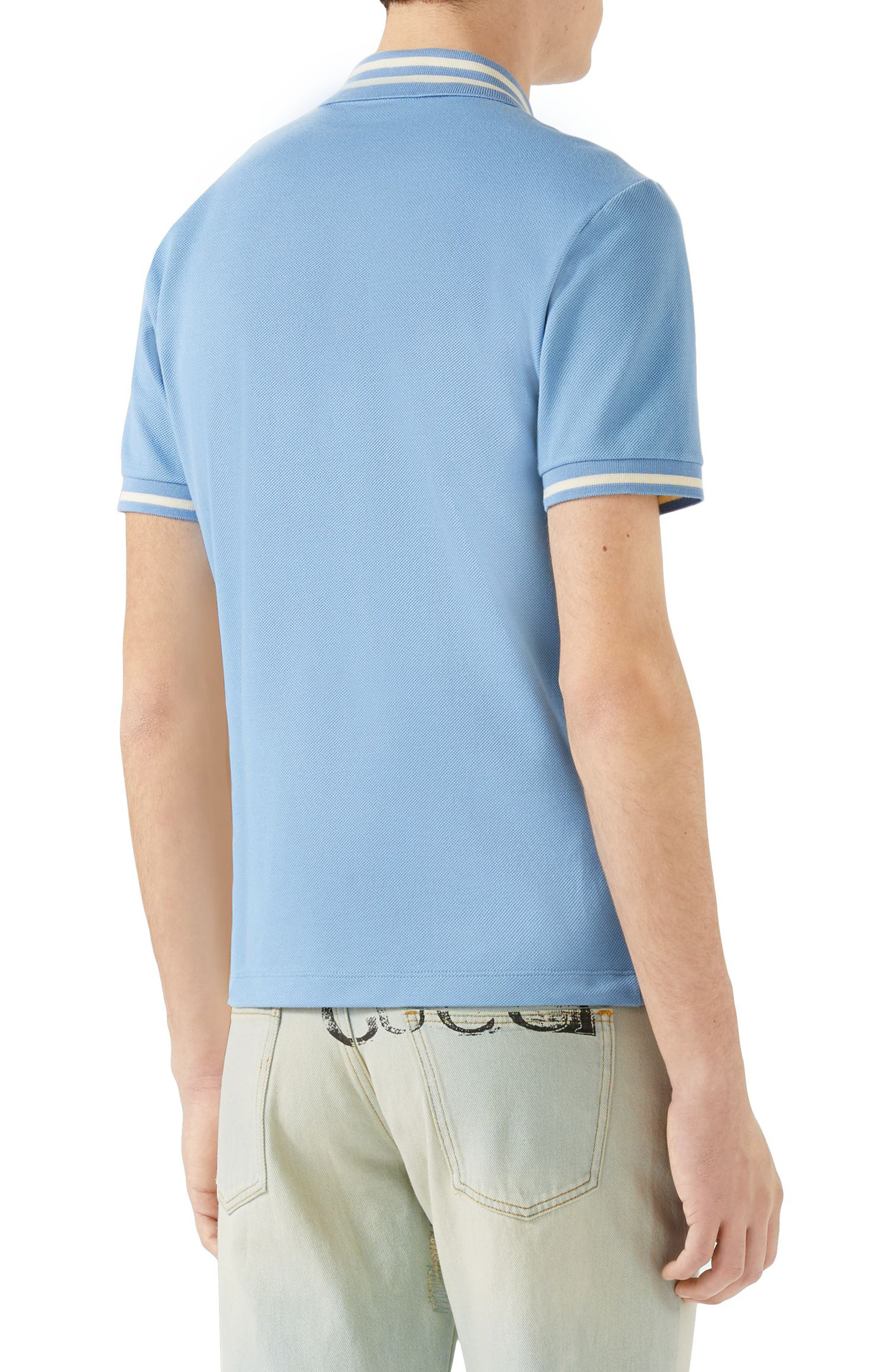 Embroidered Bee Piqué Polo,                             Alternate thumbnail 2, color,                             Light Blue