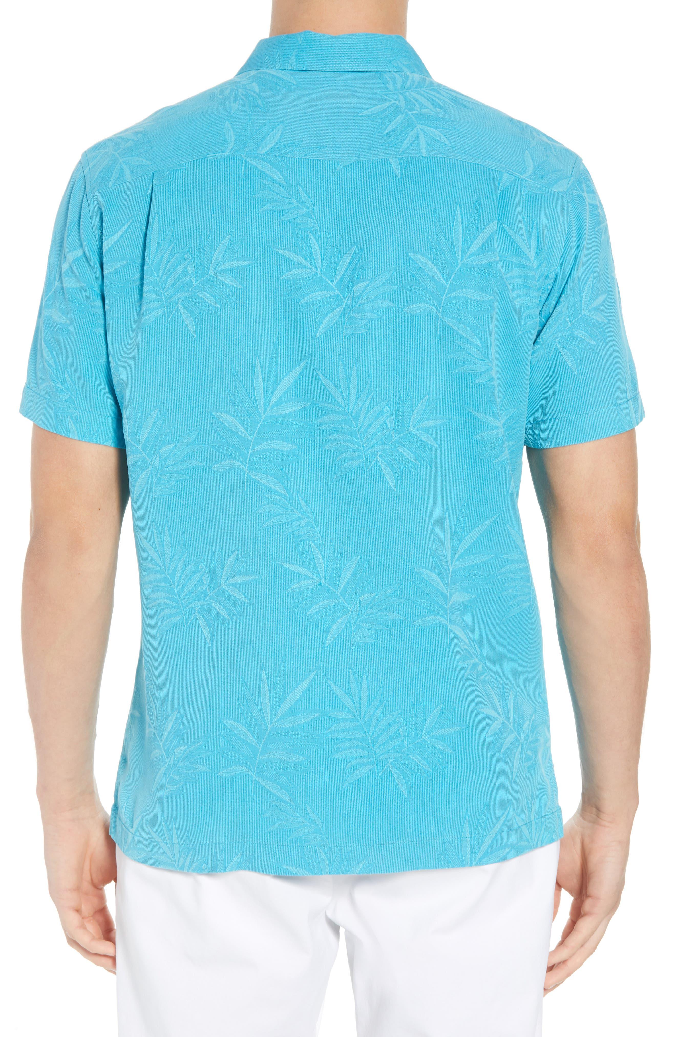 Luau Floral Silk Shirt,                             Alternate thumbnail 3, color,                             Pool Party Blue
