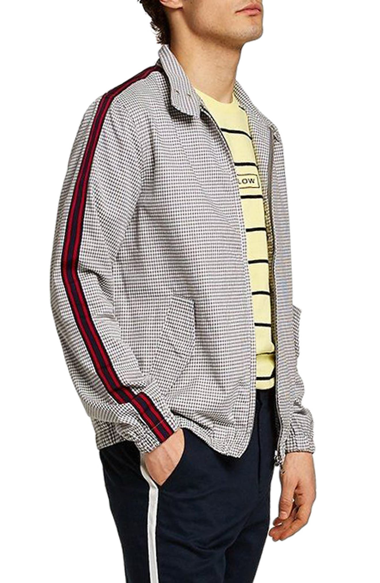 Check Harrington Jacket,                             Alternate thumbnail 3, color,                             Light Grey Multi