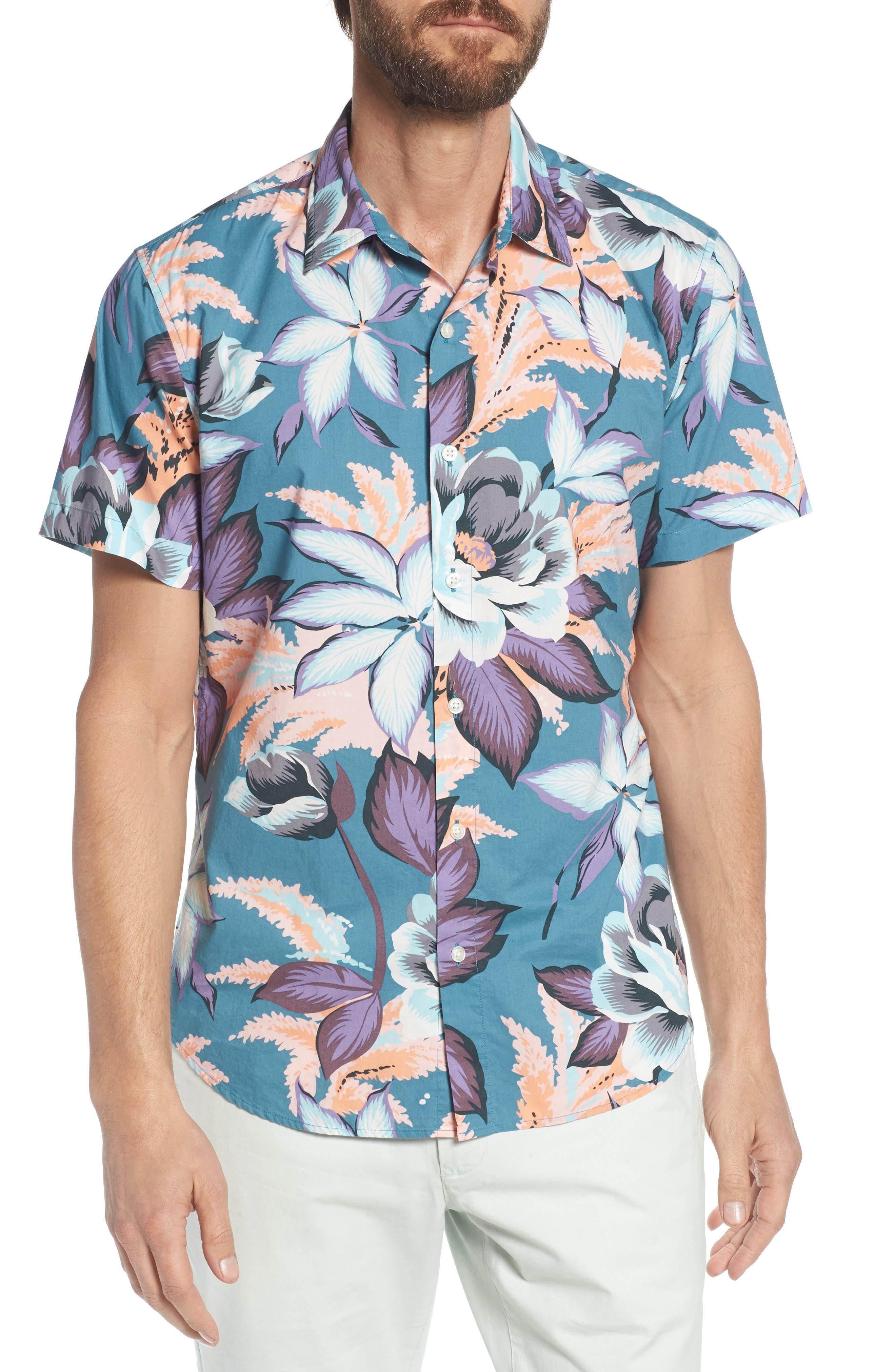Riviera Slim Fit Floral Print Sport Shirt,                             Main thumbnail 1, color,                             Coral Couch Floral - Blue