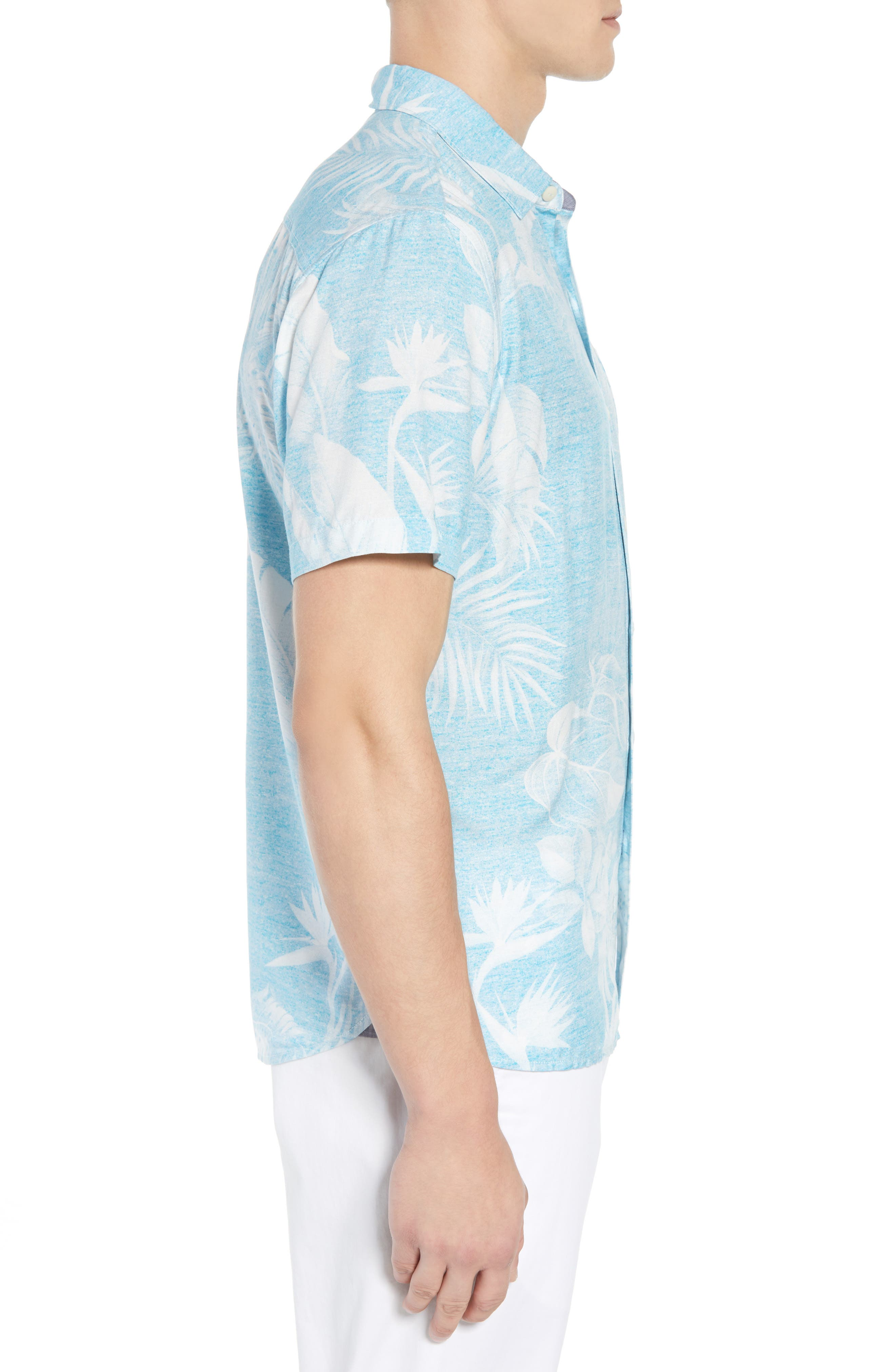 Grande Fronds Sport Shirt,                             Alternate thumbnail 4, color,                             Blue Radiance