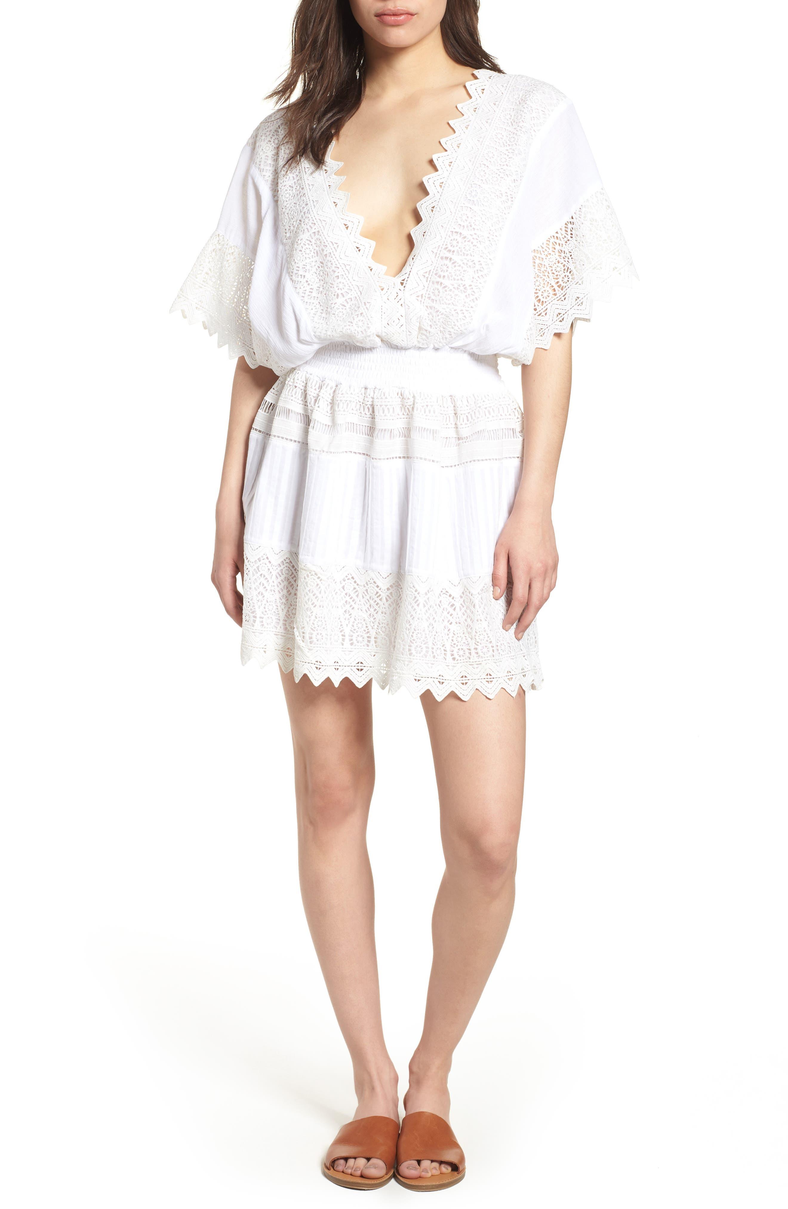 Rosa Lace Minidress,                         Main,                         color, White