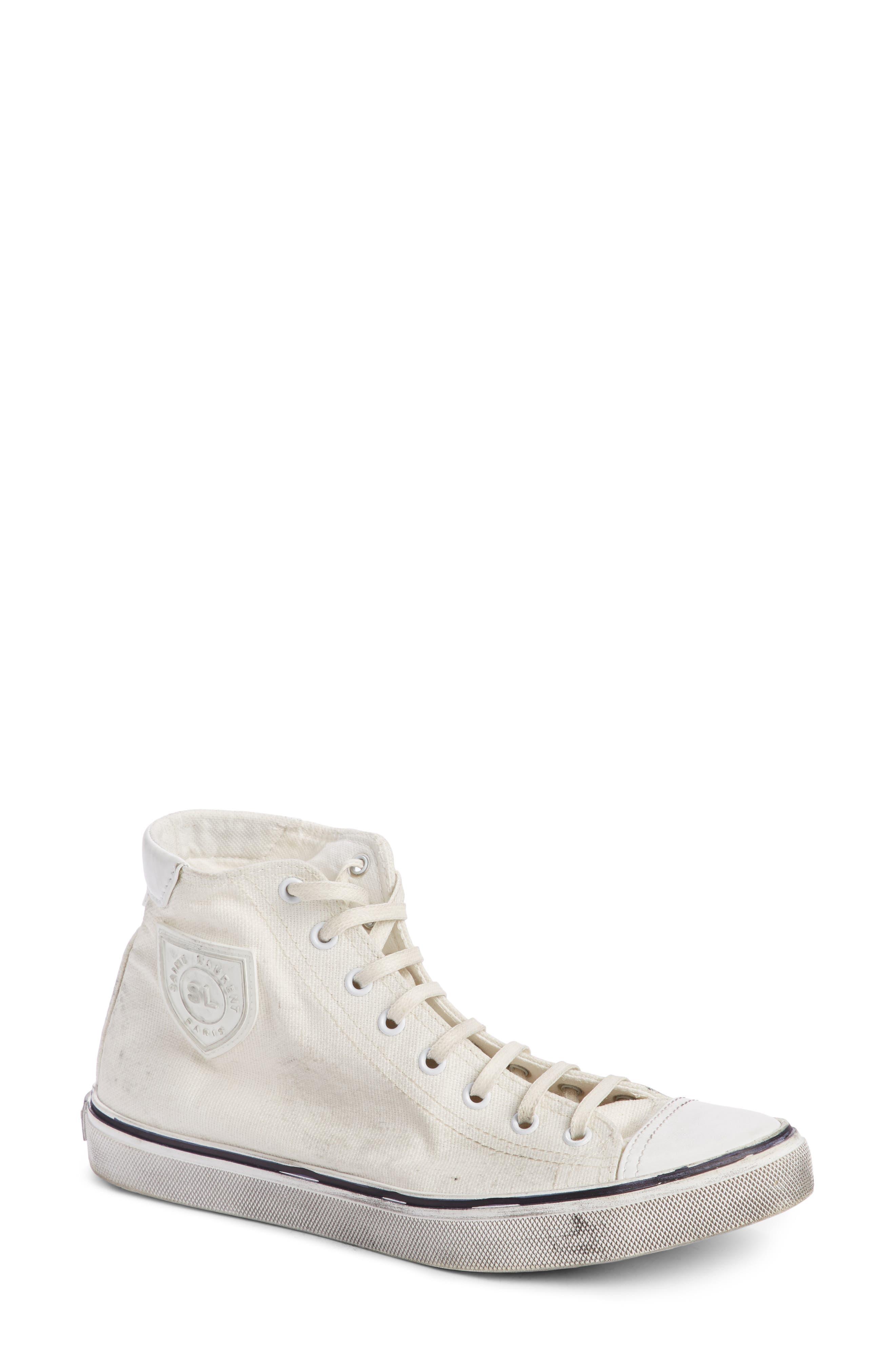 Saint Laurent Bedford Distressed High Top Sneaker (Women)