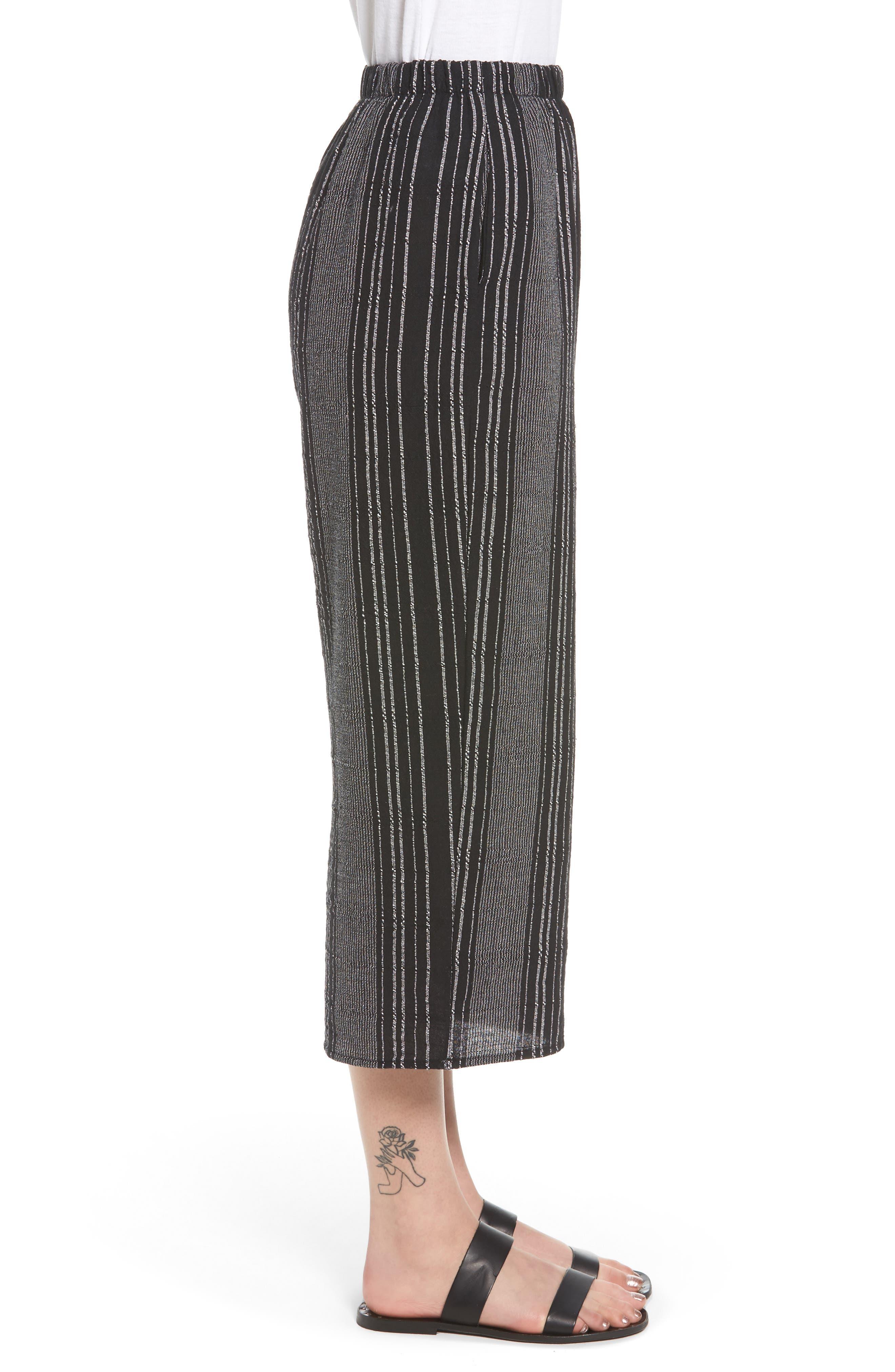 Bella Stripe Crop Pants,                             Alternate thumbnail 4, color,                             Black