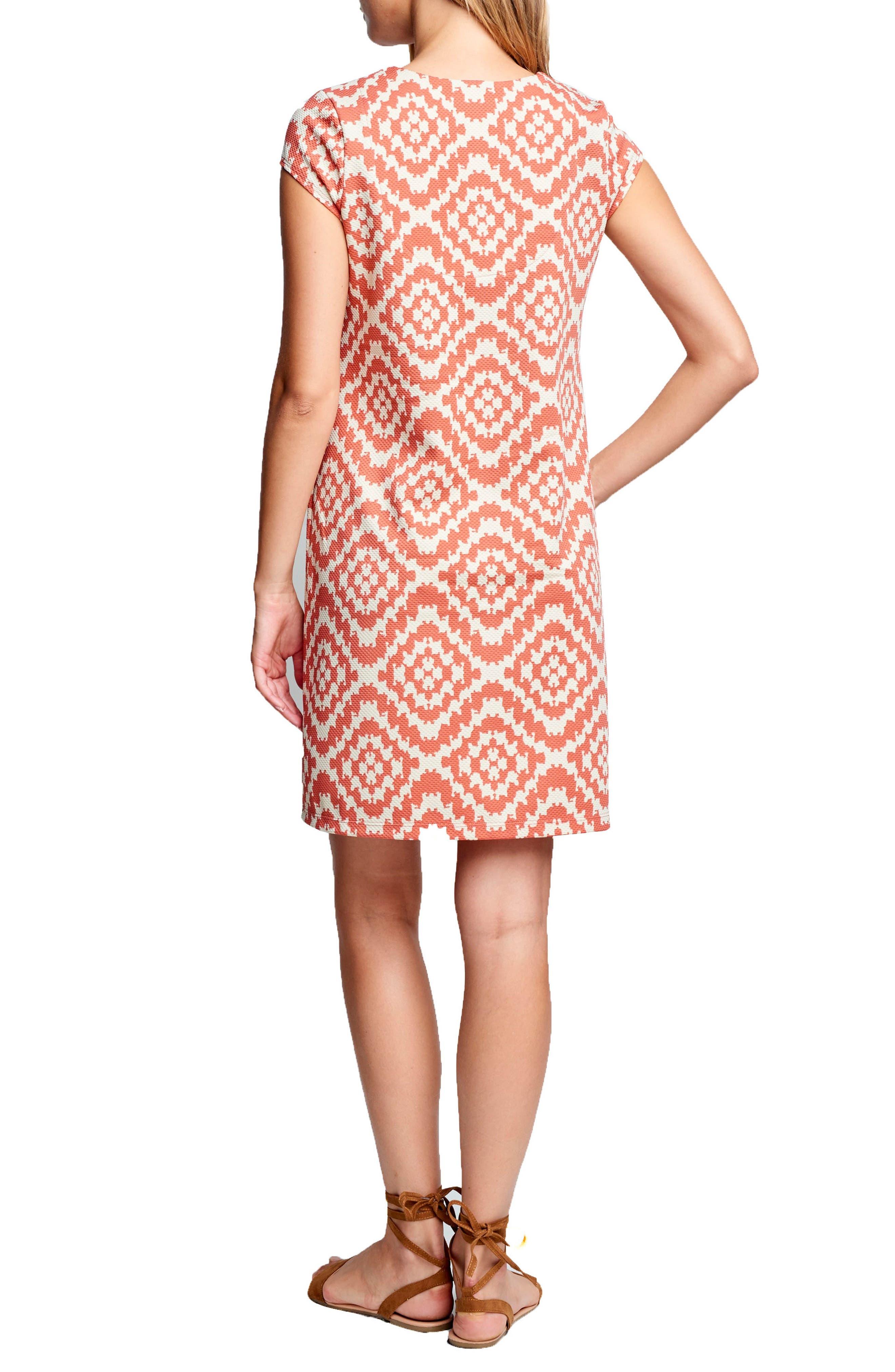 Shift Maternity Dress,                             Alternate thumbnail 2, color,                             Apricot Tapestry