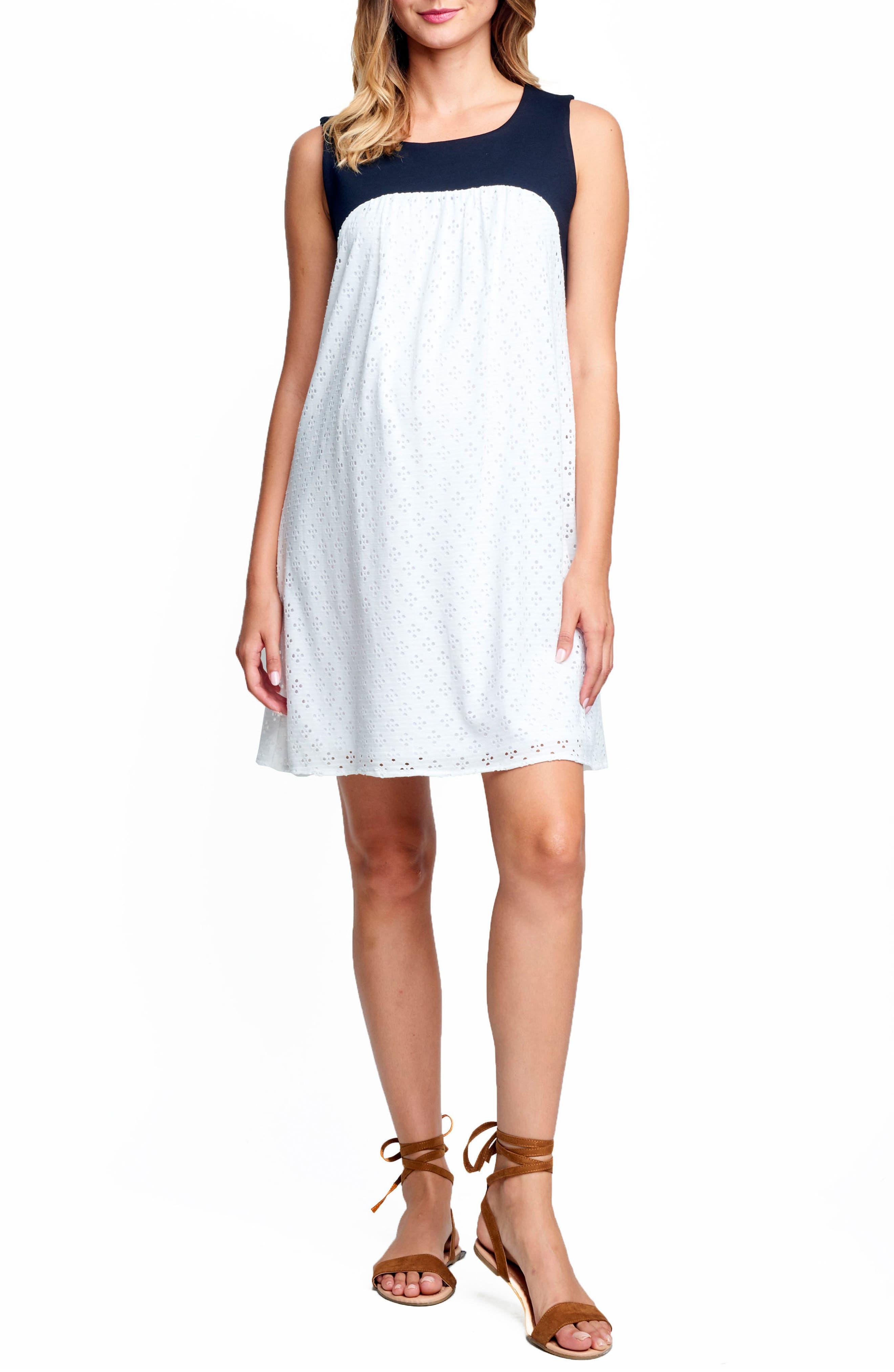 Babydoll Maternity Dress,                         Main,                         color, White Eyelet/ Black