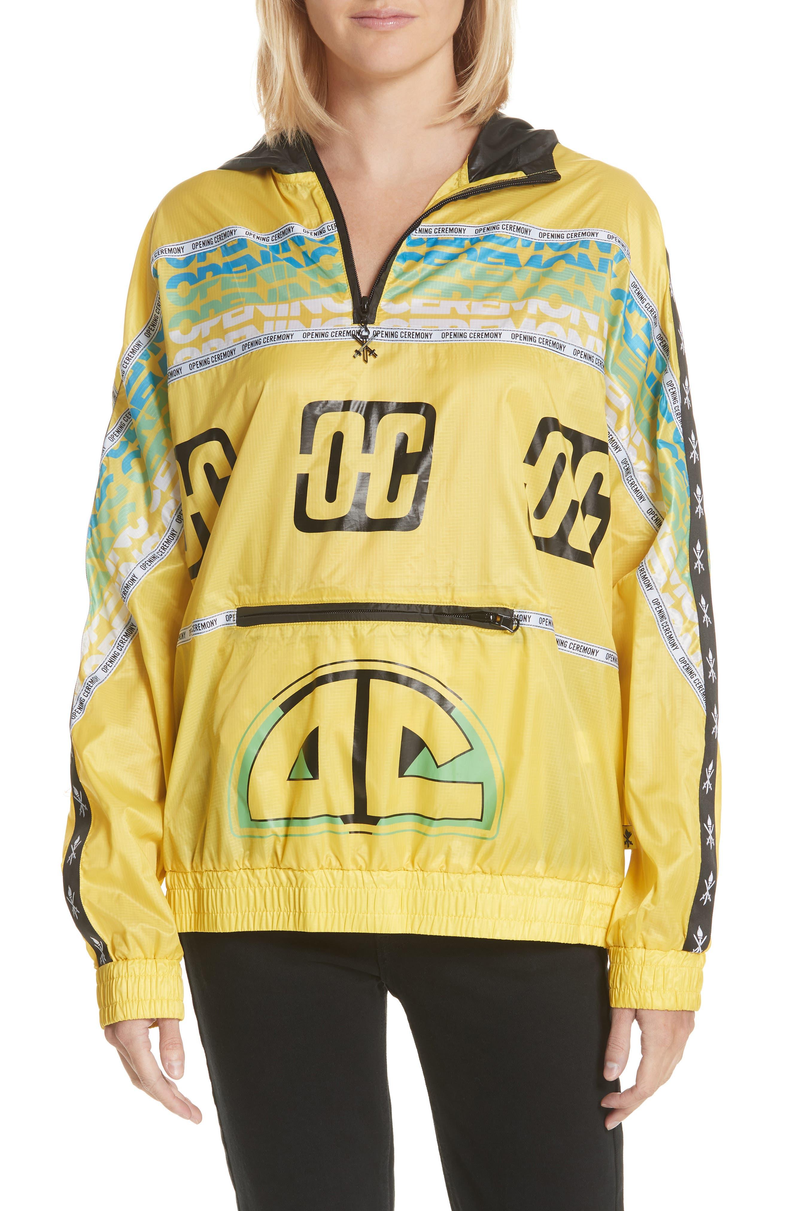 Packable Anorak,                         Main,                         color, Racer Yellow Multi