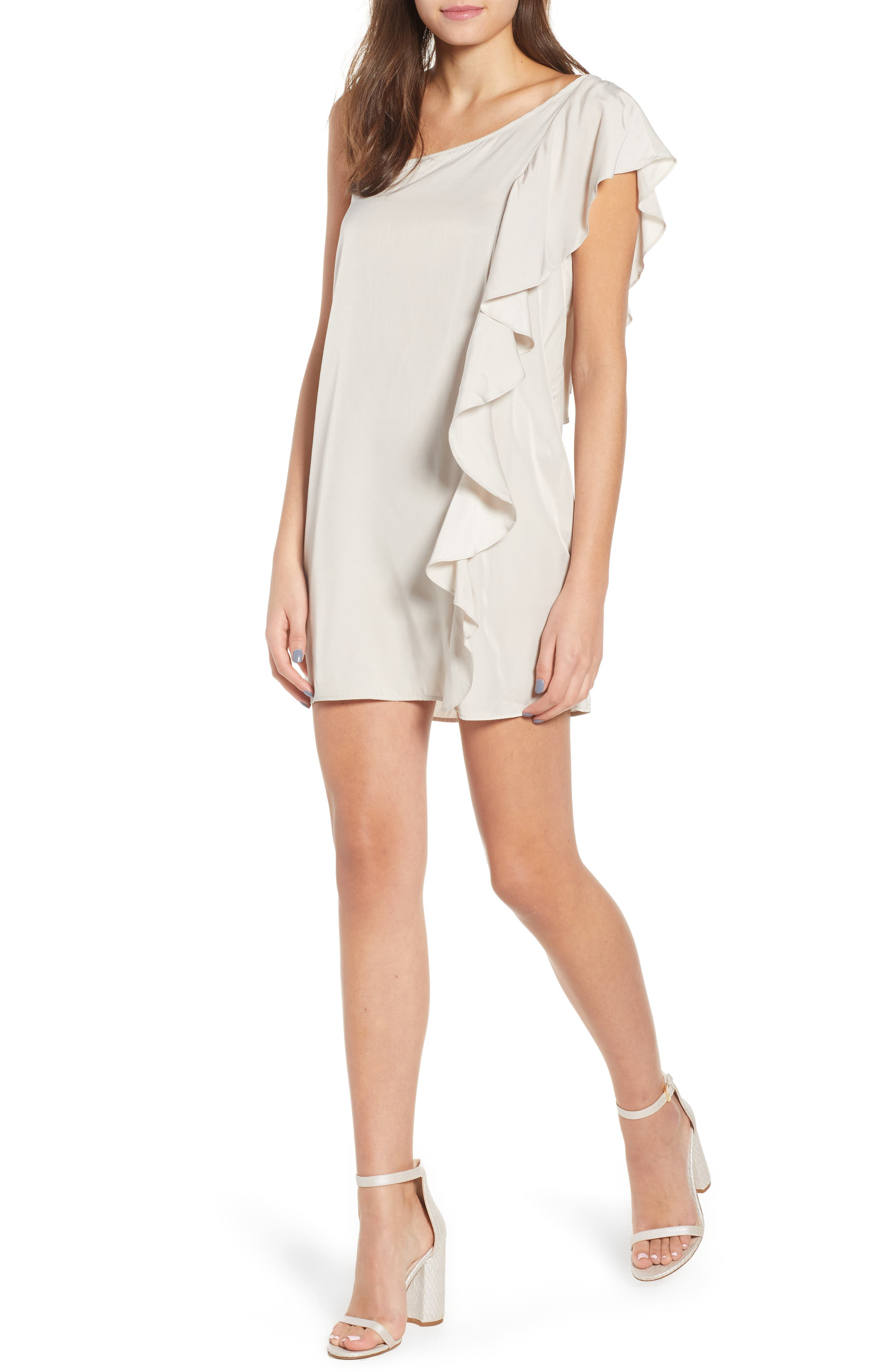 Hangin Ruff One Shoulder Dress,                             Main thumbnail 1, color,                             Light Grey