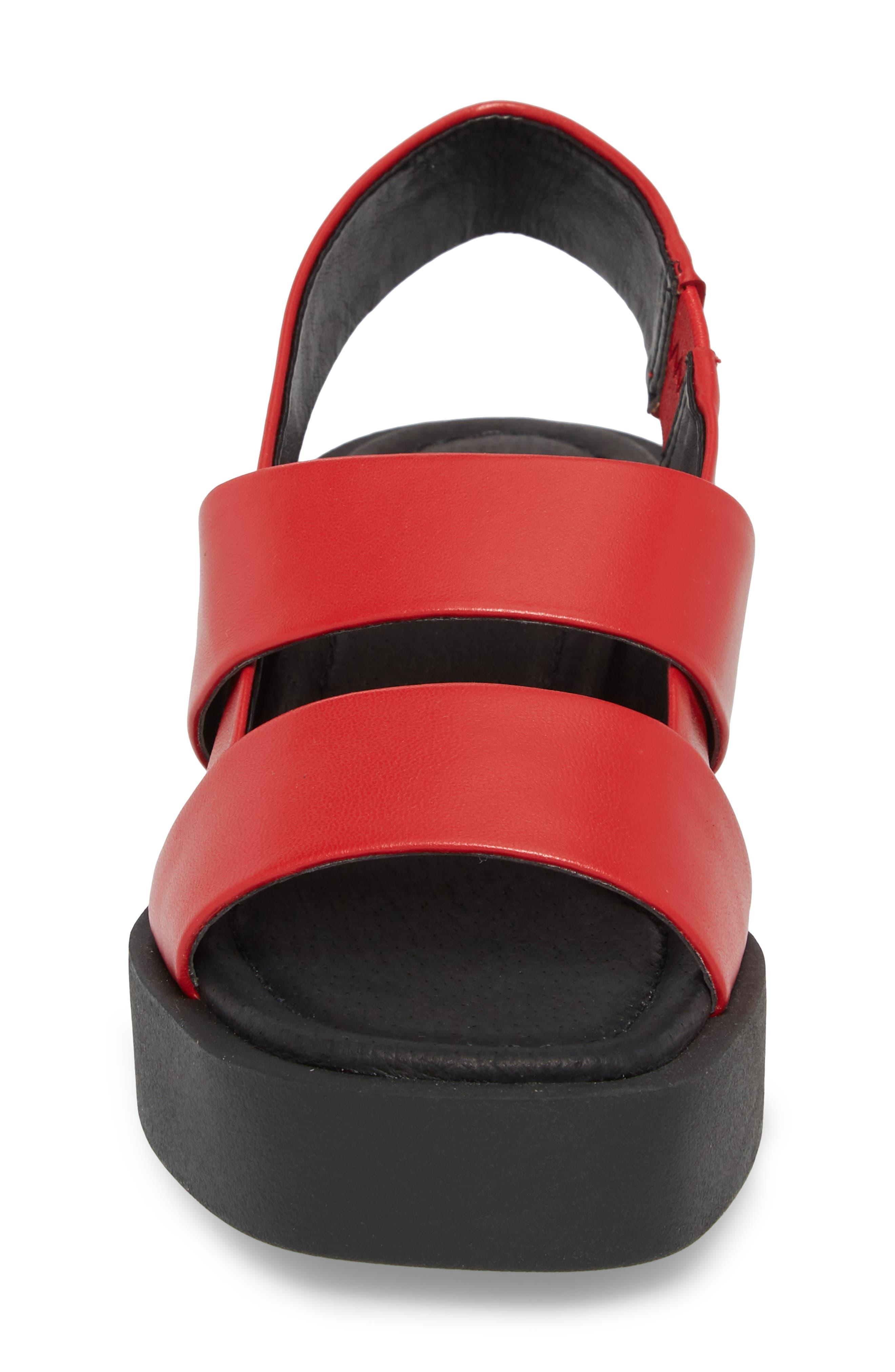 Hazel Slingback Sandal,                             Alternate thumbnail 4, color,                             Red Leather