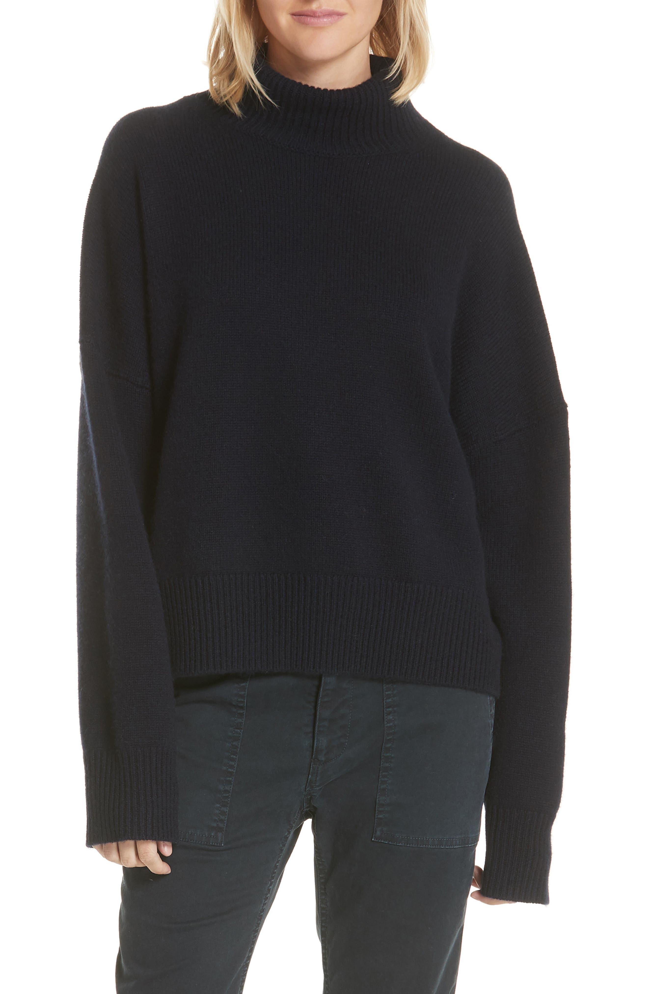 Serinda Wool & Cashmere Turtleneck Sweater,                             Main thumbnail 1, color,                             Dark Navy
