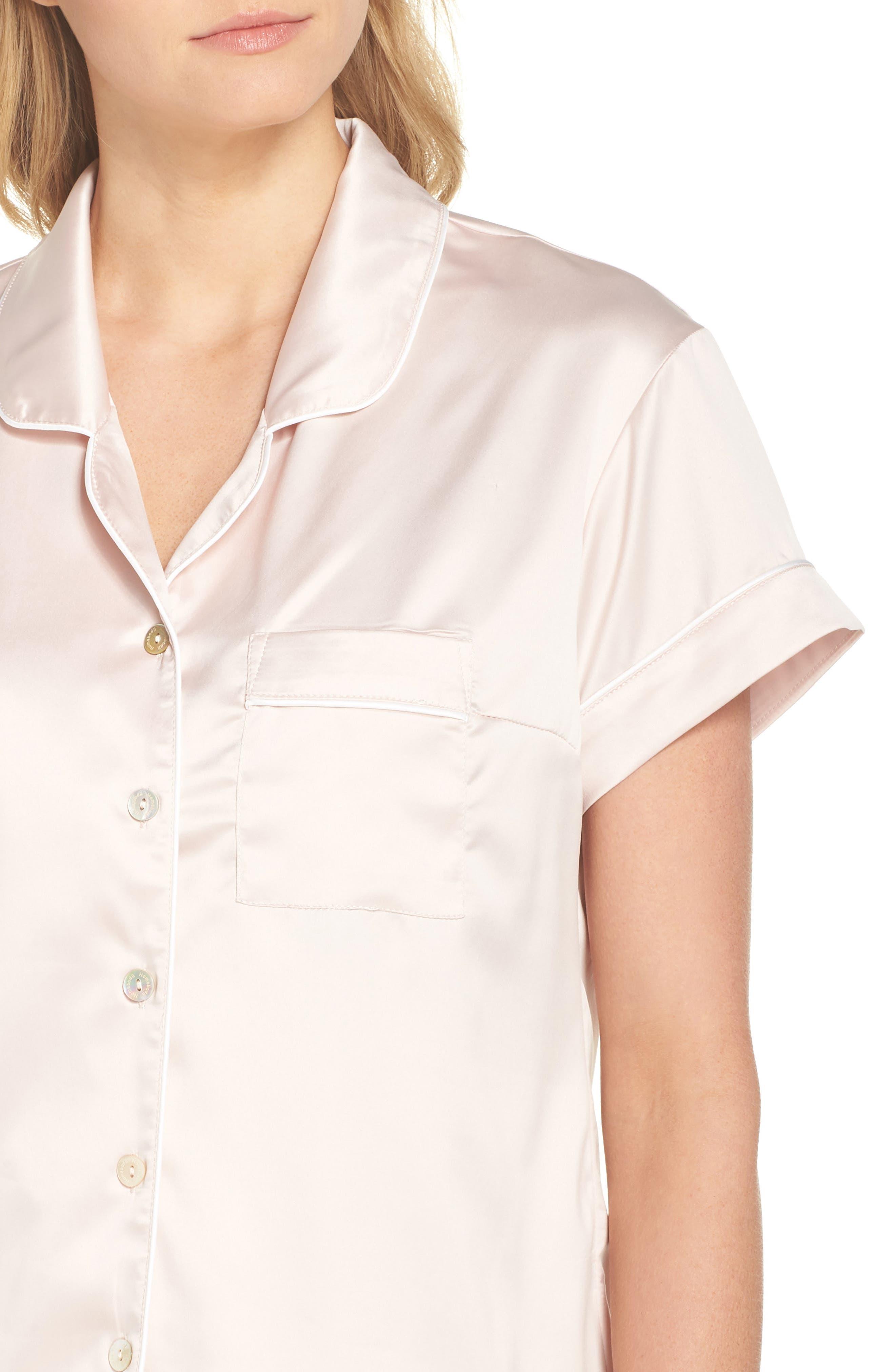 Piped Short Pajamas,                             Alternate thumbnail 5, color,                             Pink