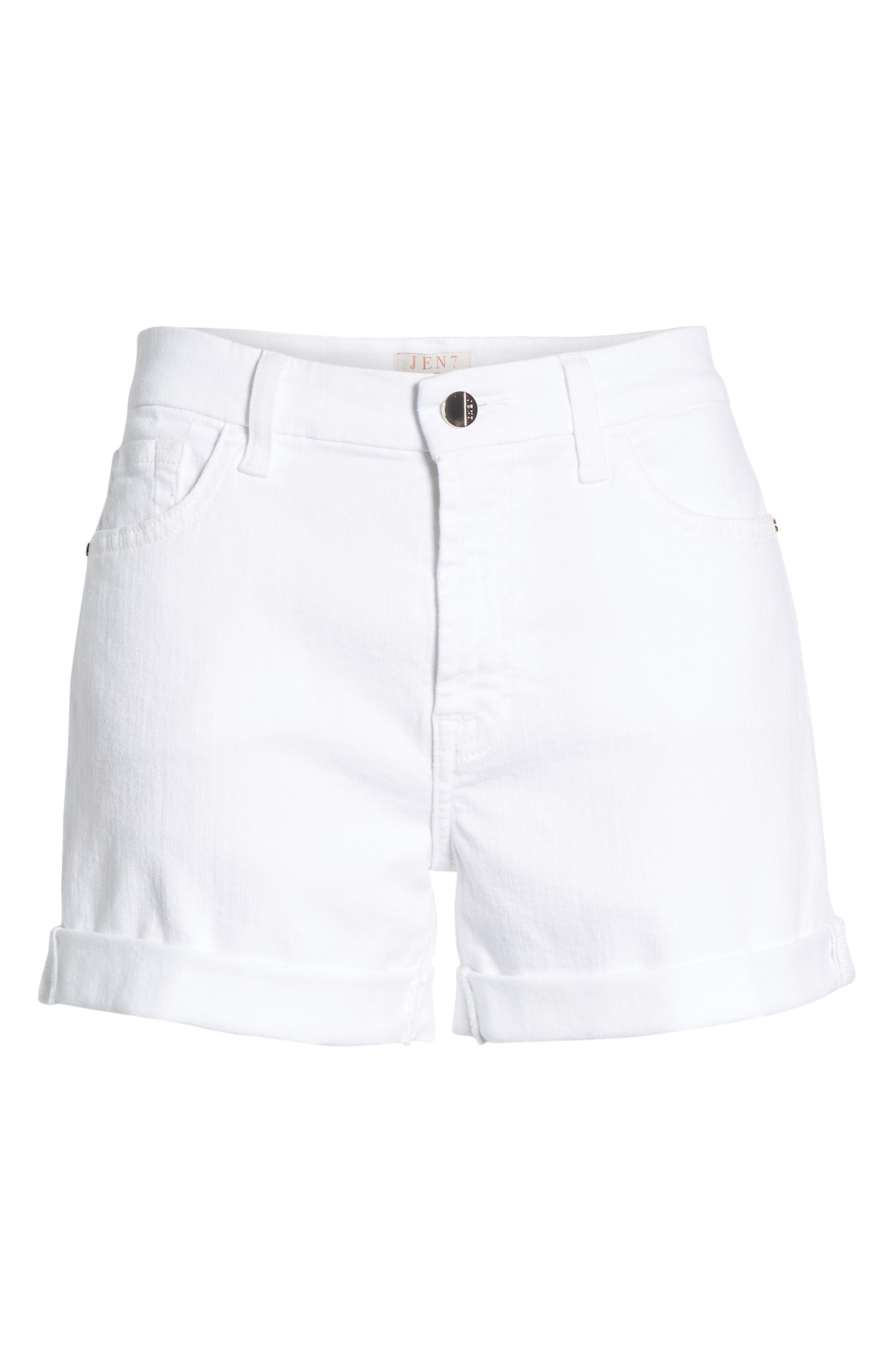 Rolled Denim Shorts,                             Alternate thumbnail 6, color,                             White