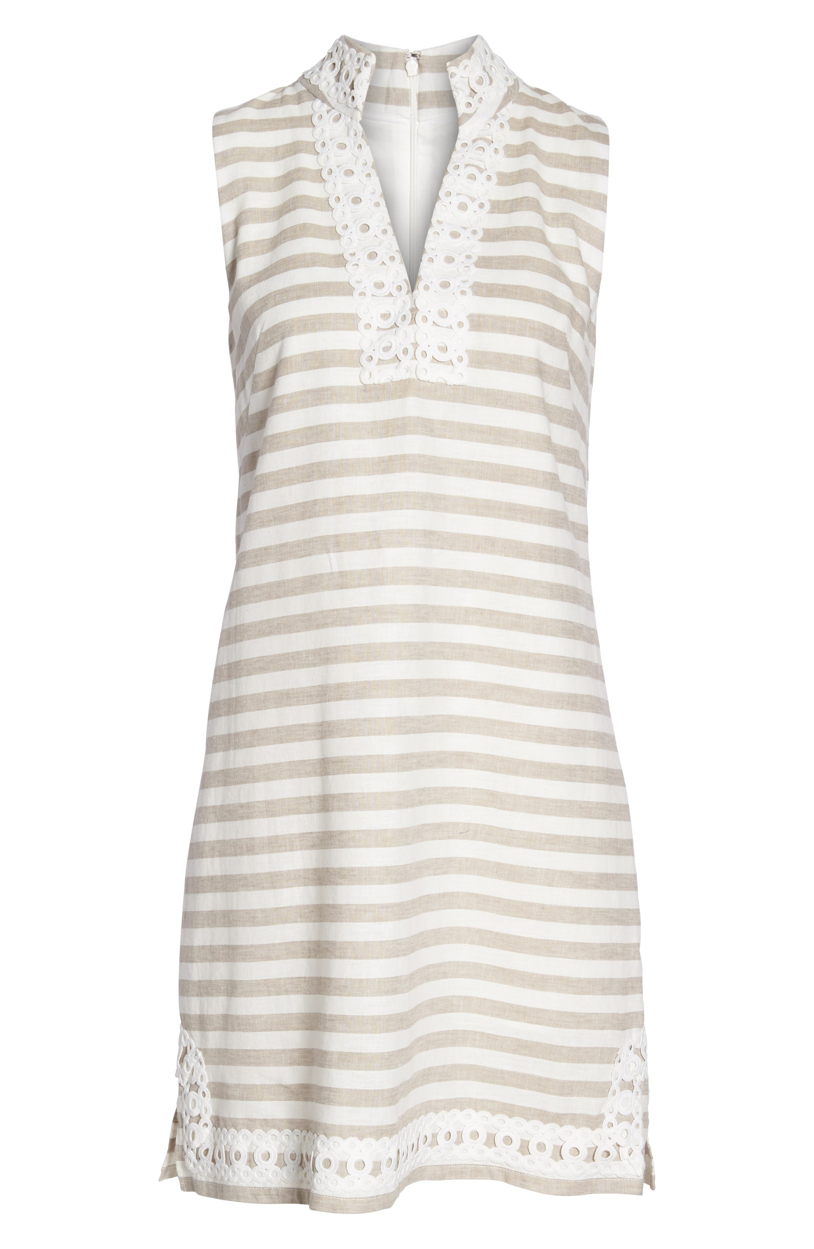 Stripe Linen & Cotton Blend Dress,                             Alternate thumbnail 7, color,                             Natural