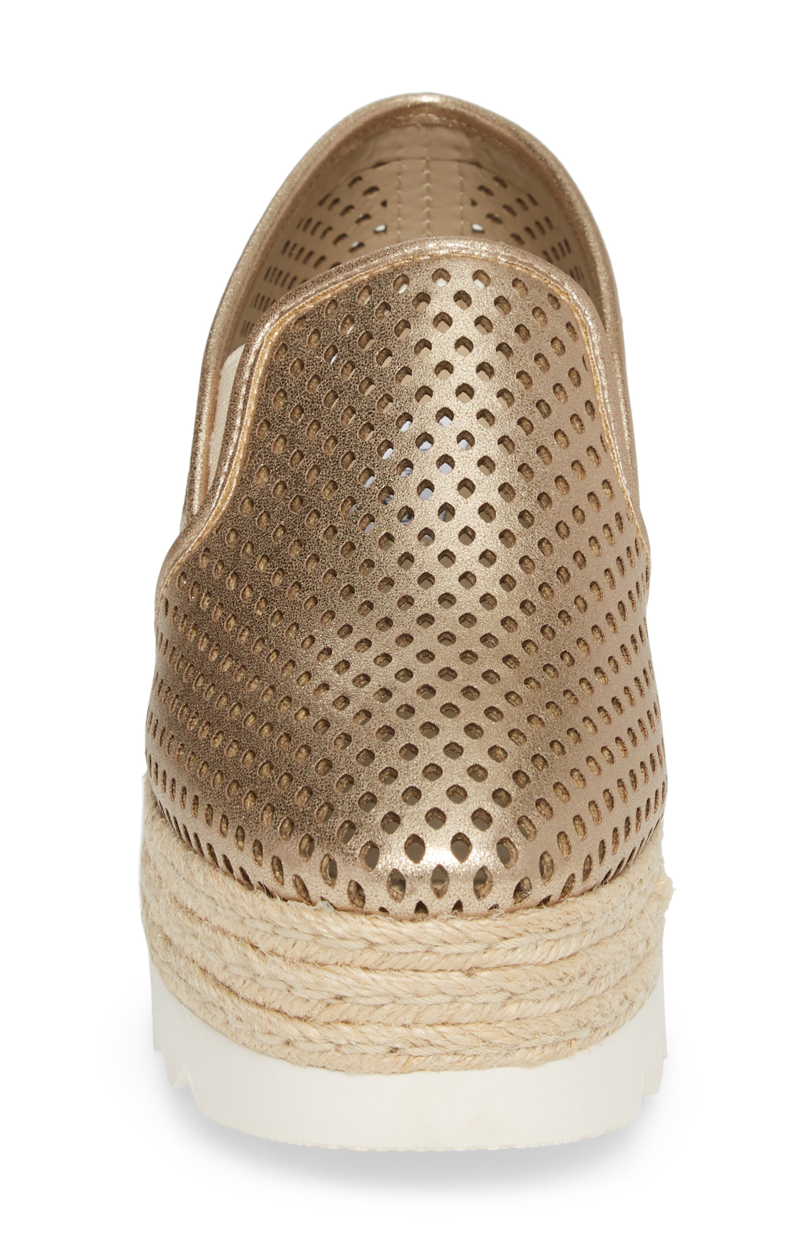 Kara Perforated Platform Loafer,                             Alternate thumbnail 4, color,                             Platinum