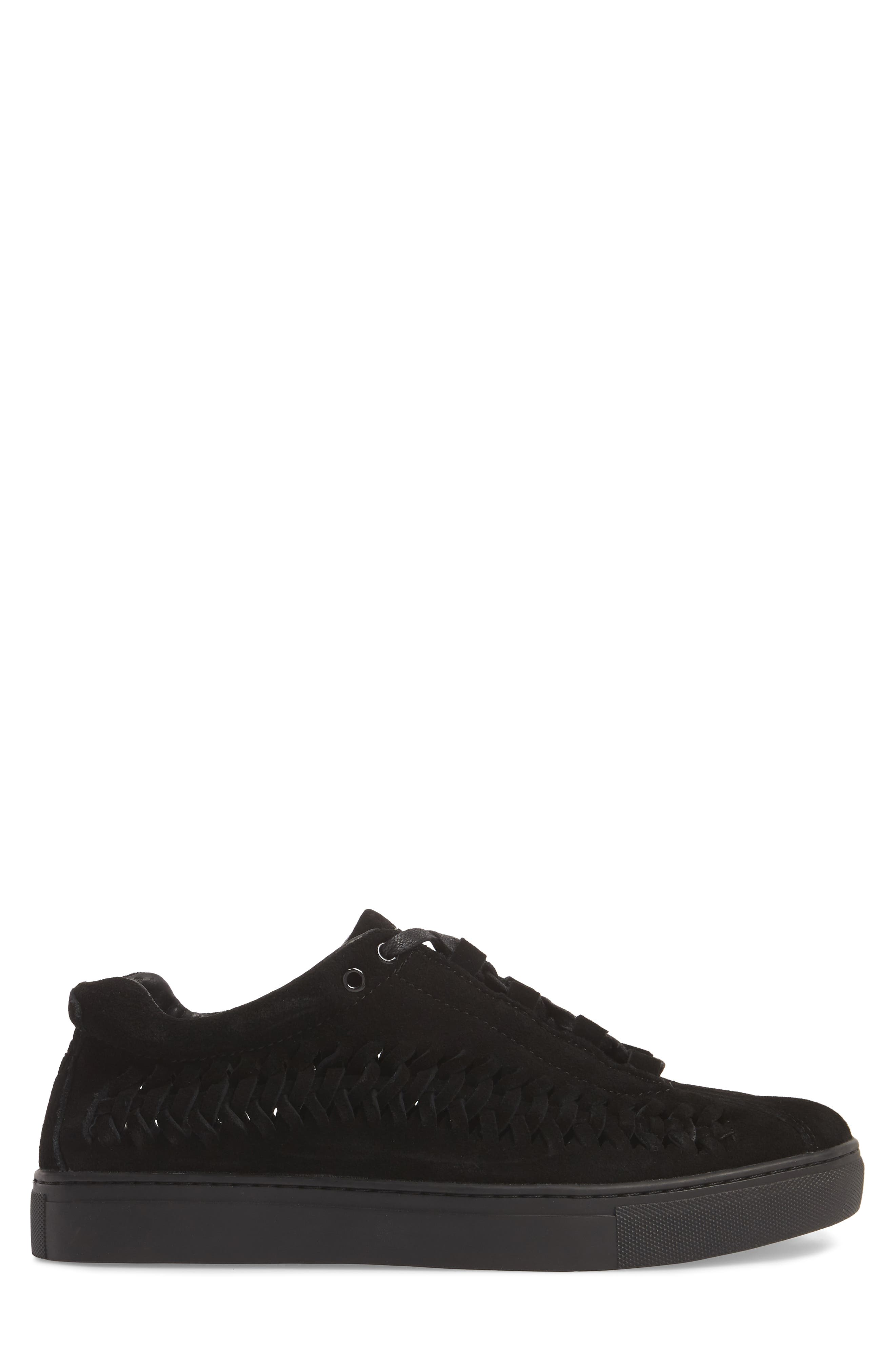 Leather Wire Sneaker,                             Alternate thumbnail 3, color,                             Black Suede