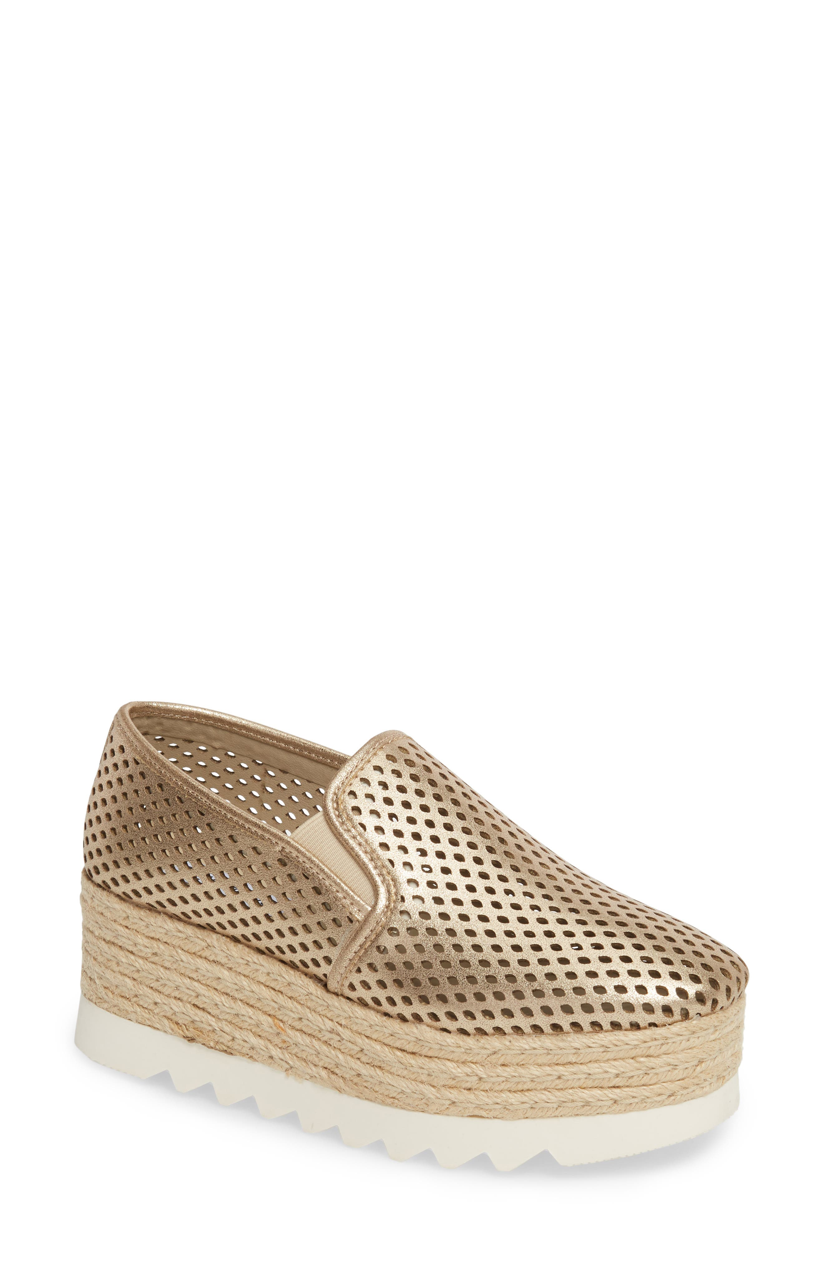 Kara Perforated Platform Loafer,                             Main thumbnail 1, color,                             Platinum
