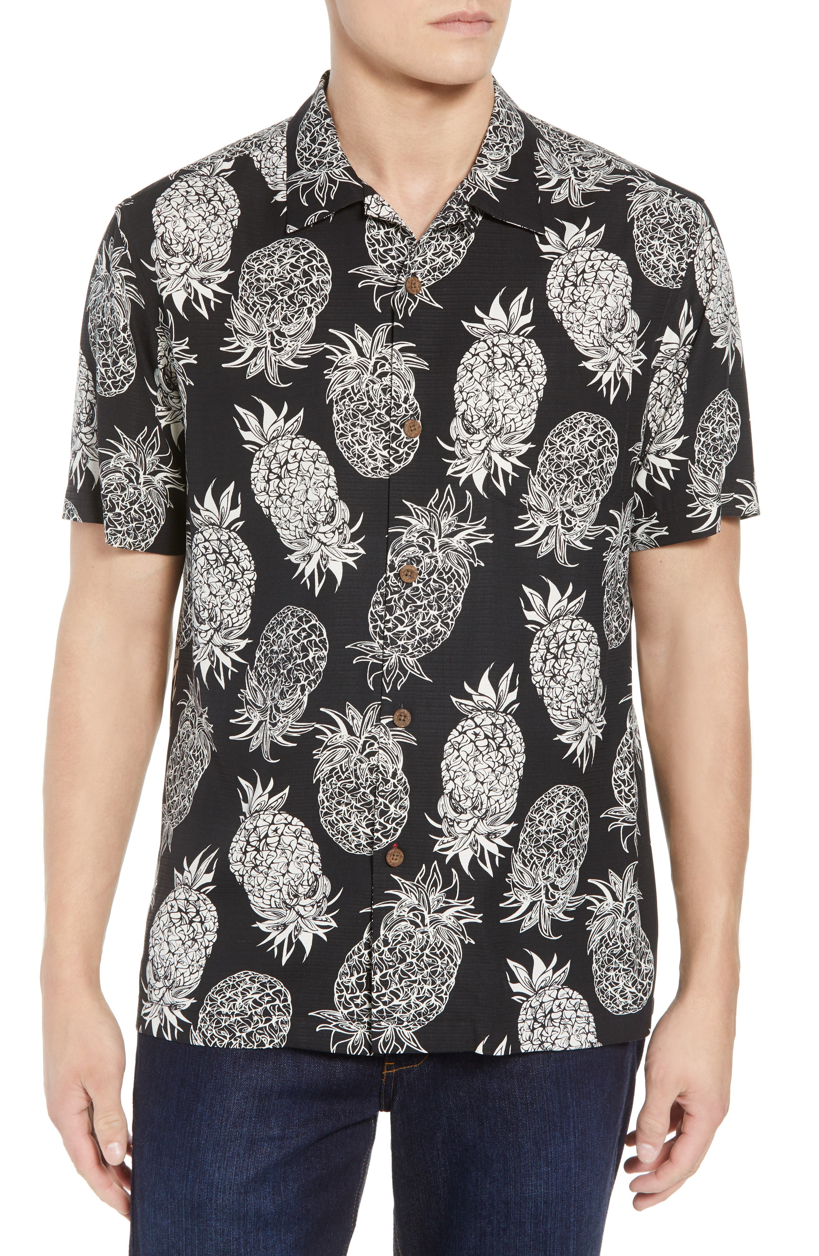 Piña Piñata Regular Fit Silk Camp Shirt,                         Main,                         color, Black
