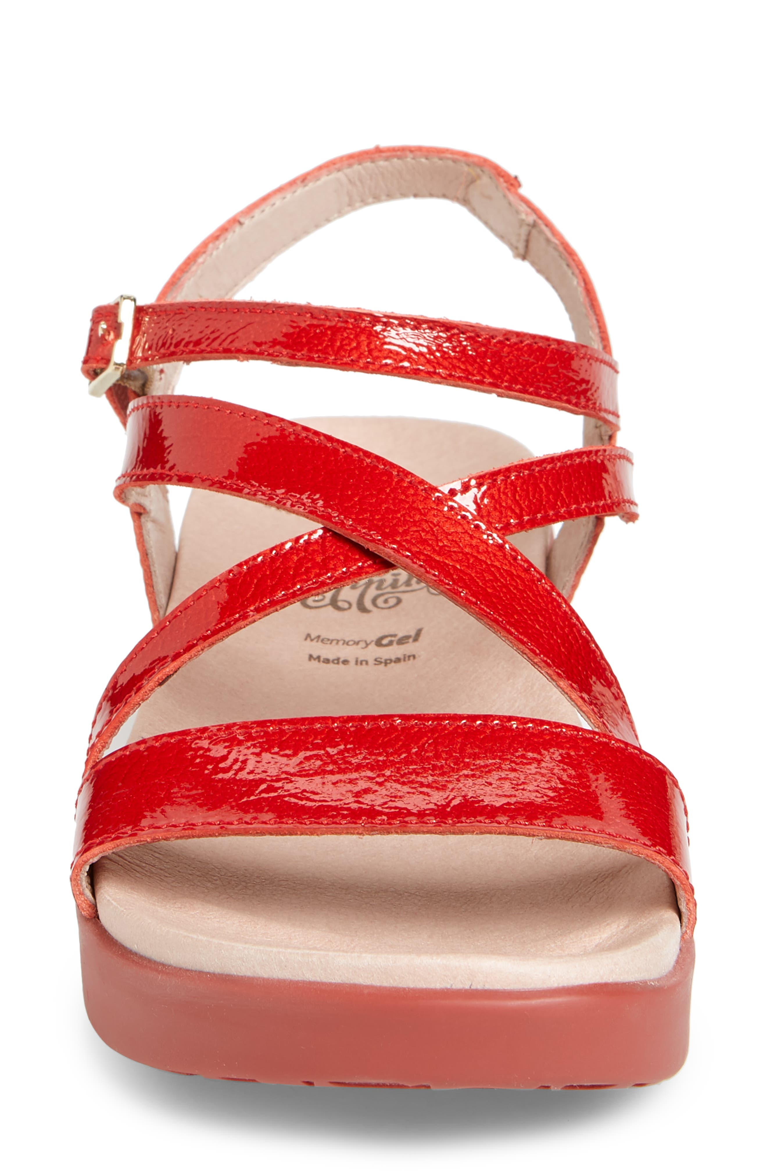 Wedge Sandal,                             Alternate thumbnail 4, color,                             Red Patent Leather