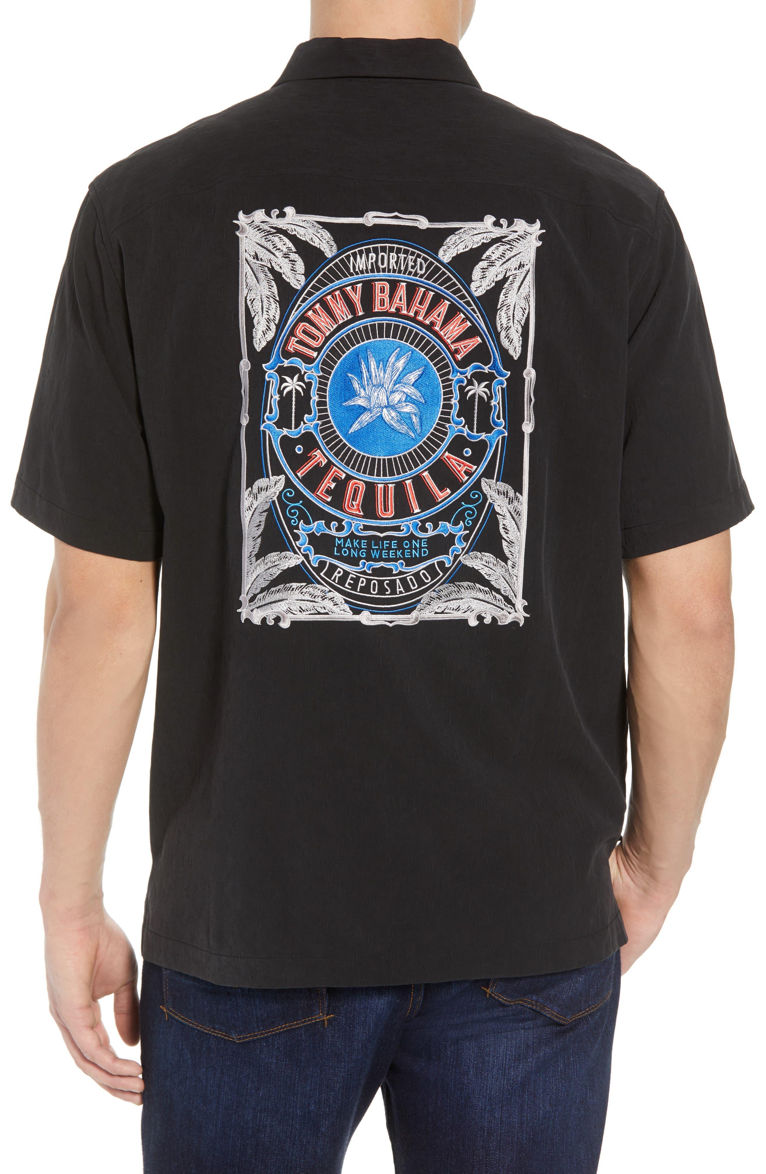Bahama Reserve Silk Camp Shirt,                             Alternate thumbnail 3, color,                             Black