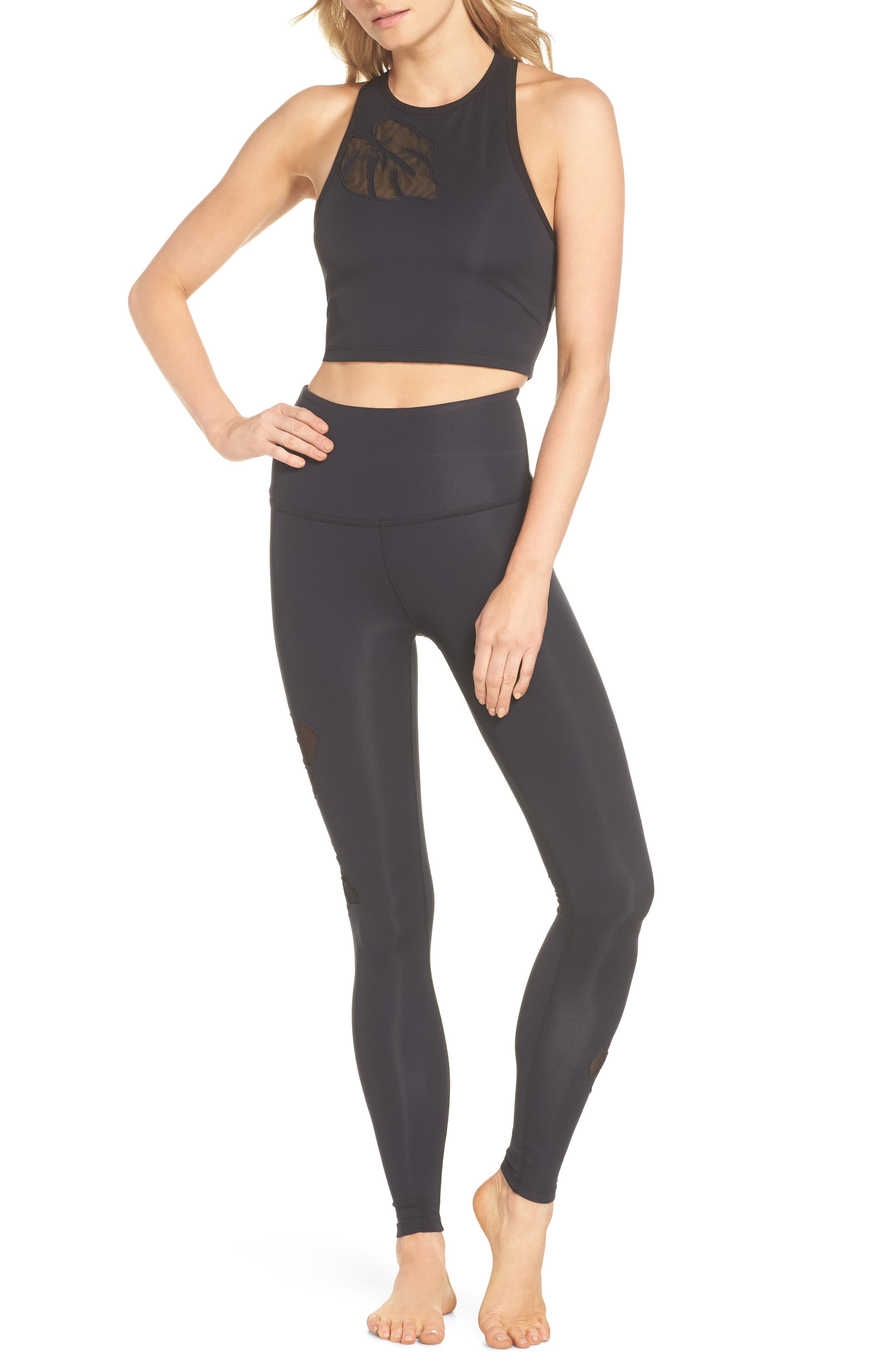 Take Leaf High Waist Leggings,                             Alternate thumbnail 7, color,                             Black