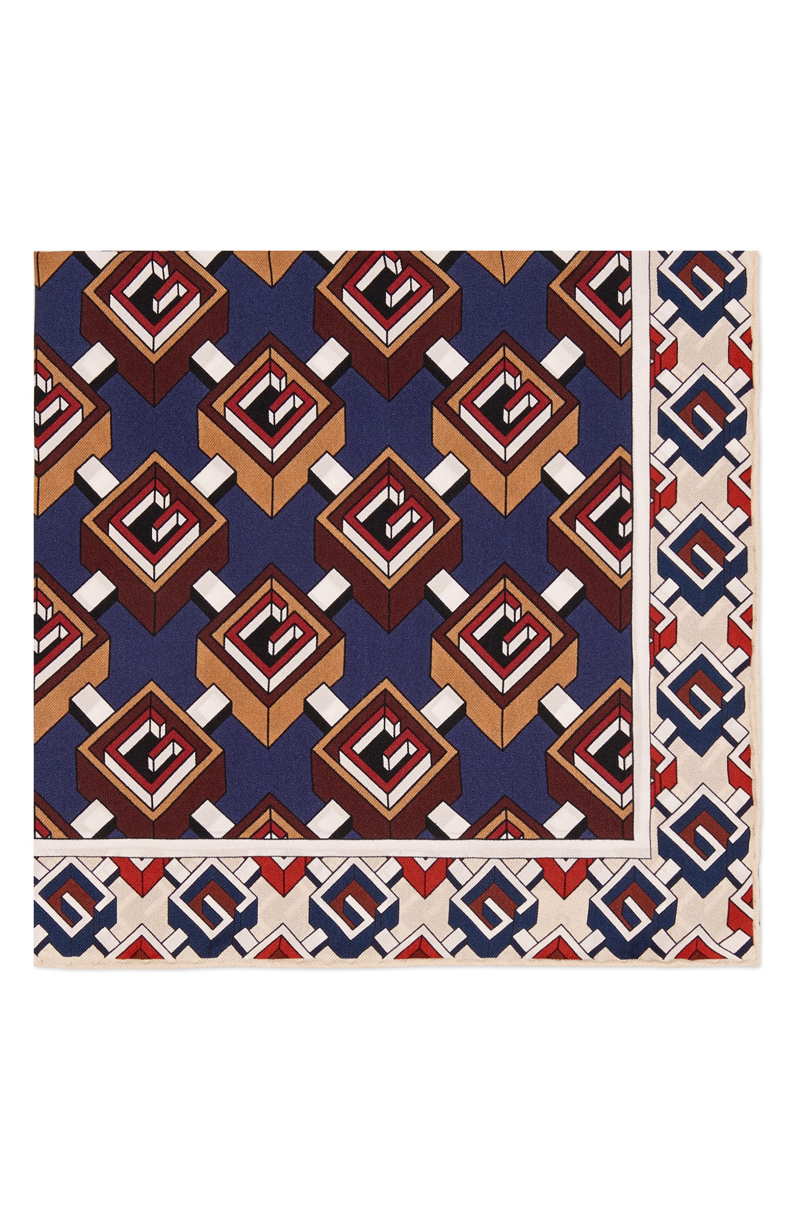 Multi-G Silk Pocket Square,                         Main,                         color, Red/ Blue