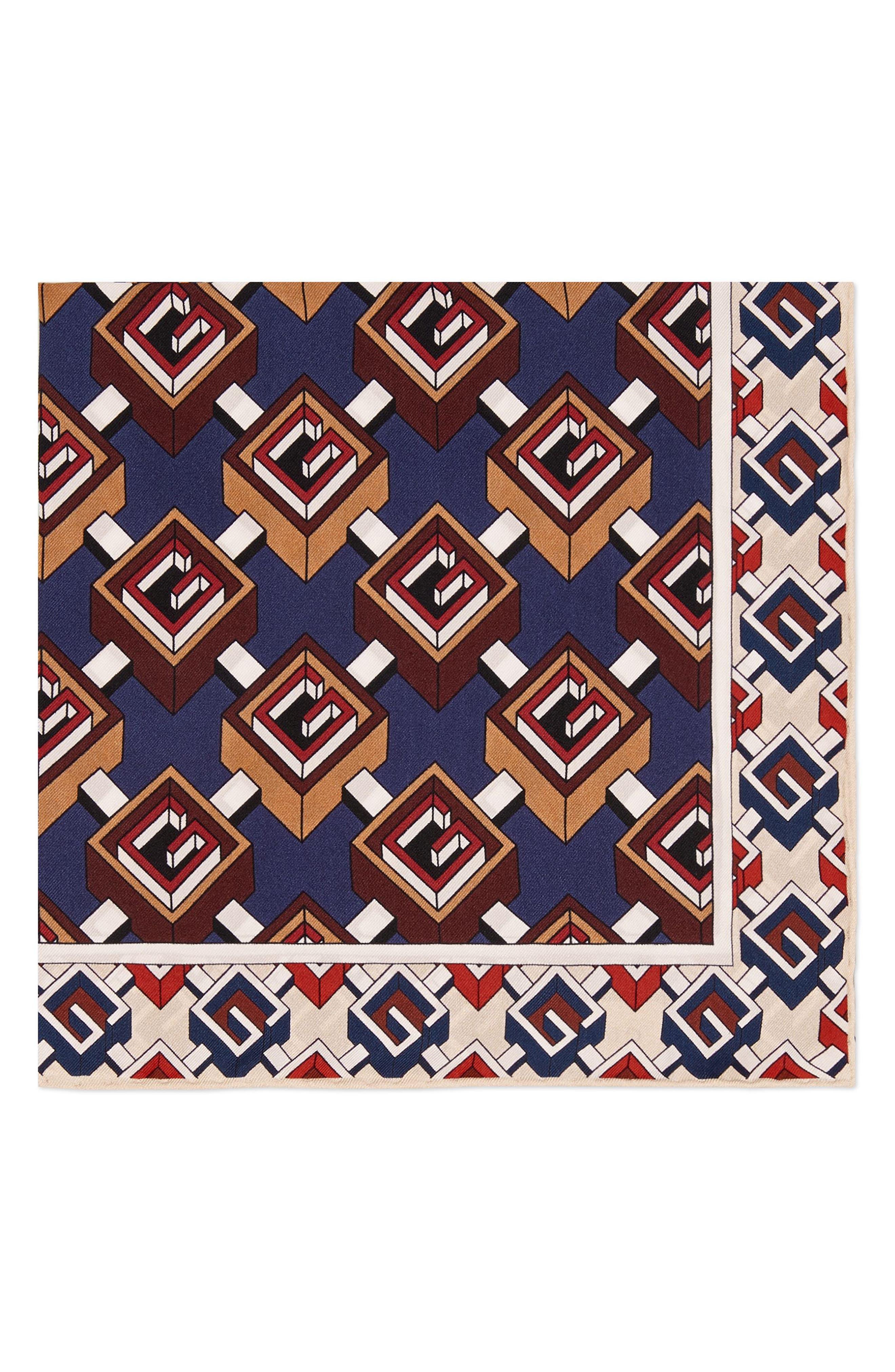 Multi-G Silk Pocket Square,                         Main,                         color, Red/ Blue