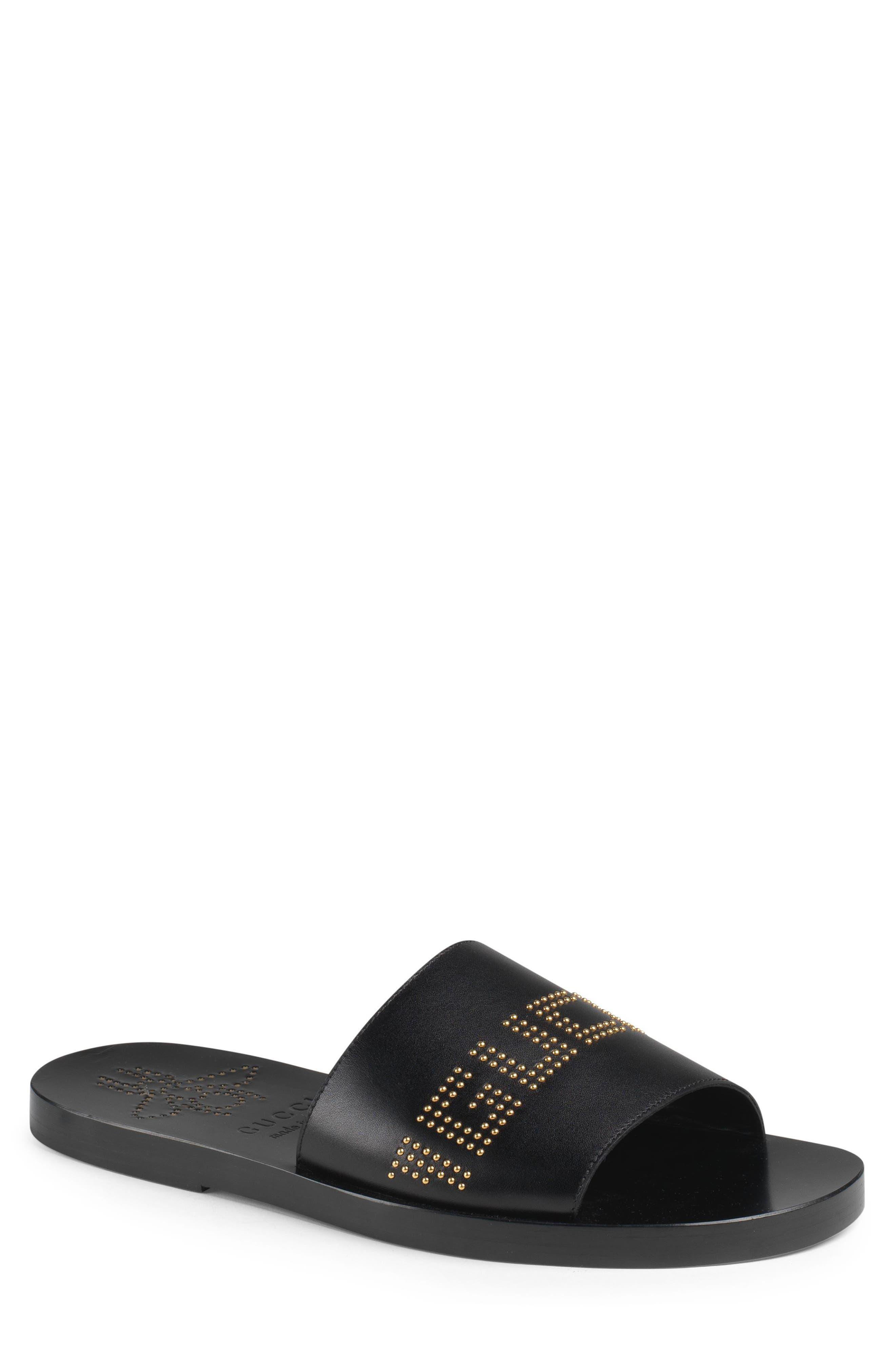Gucci New Brighton Logo Studded Slide Sandal (Men)