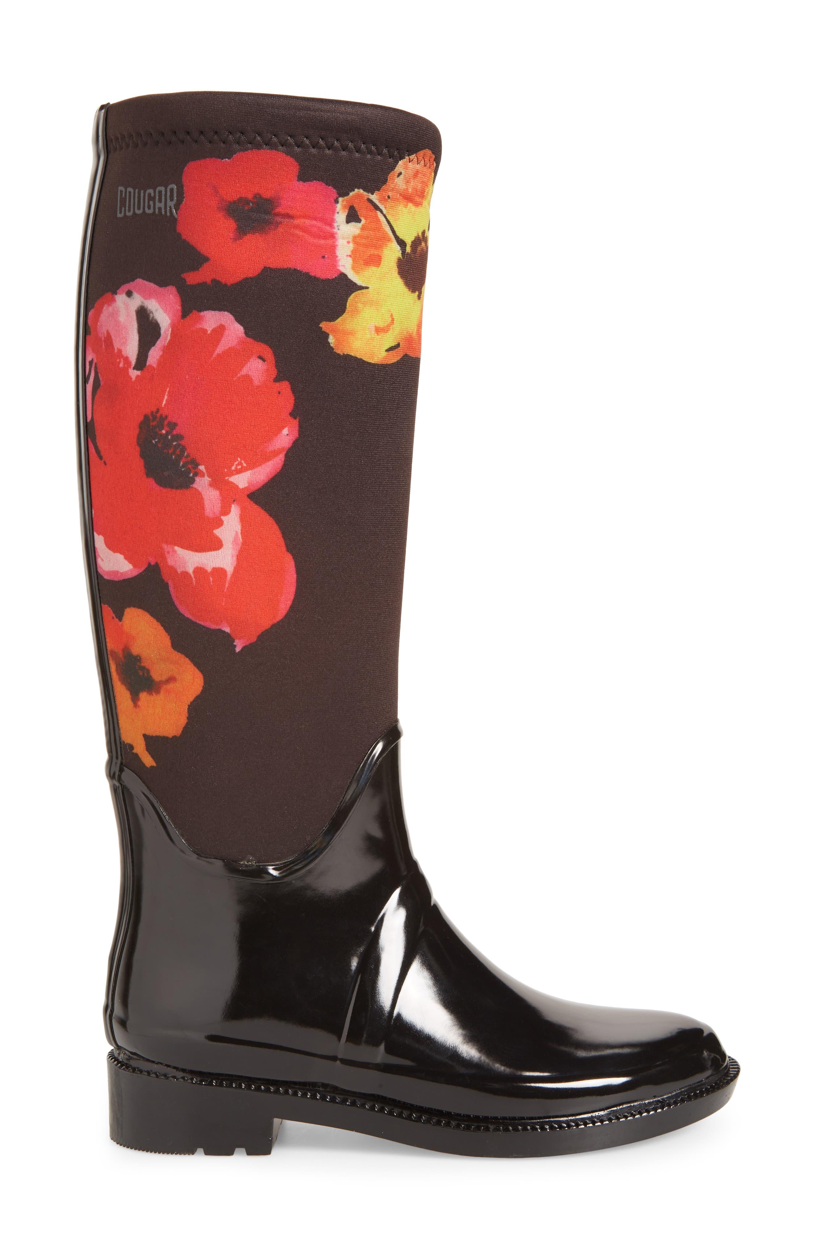 Talon Rain Boot,                             Alternate thumbnail 3, color,                             Black Floral Print
