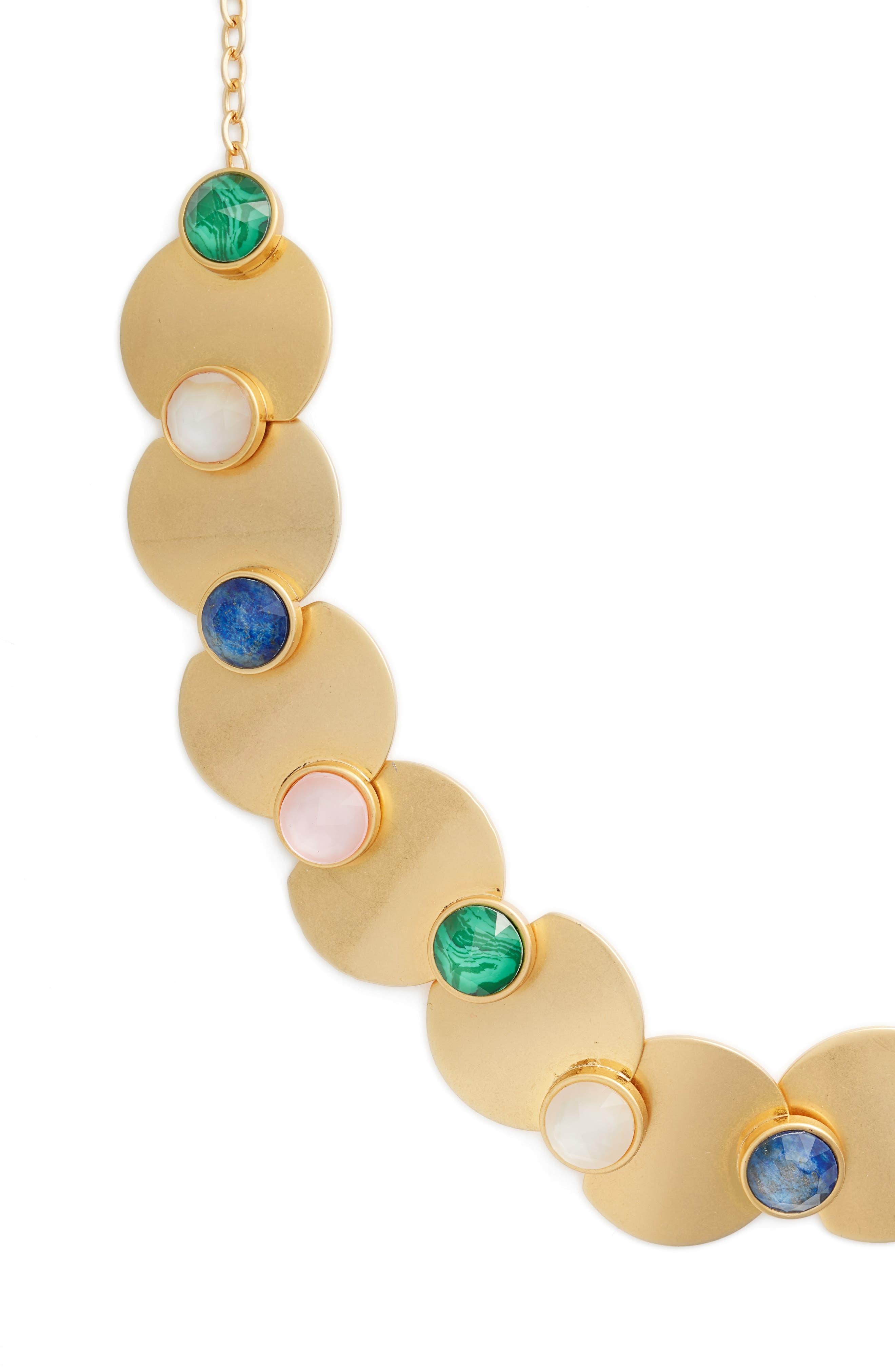 kate spade sunshine stones crew necklace,                             Main thumbnail 1, color,                             Gold Multi