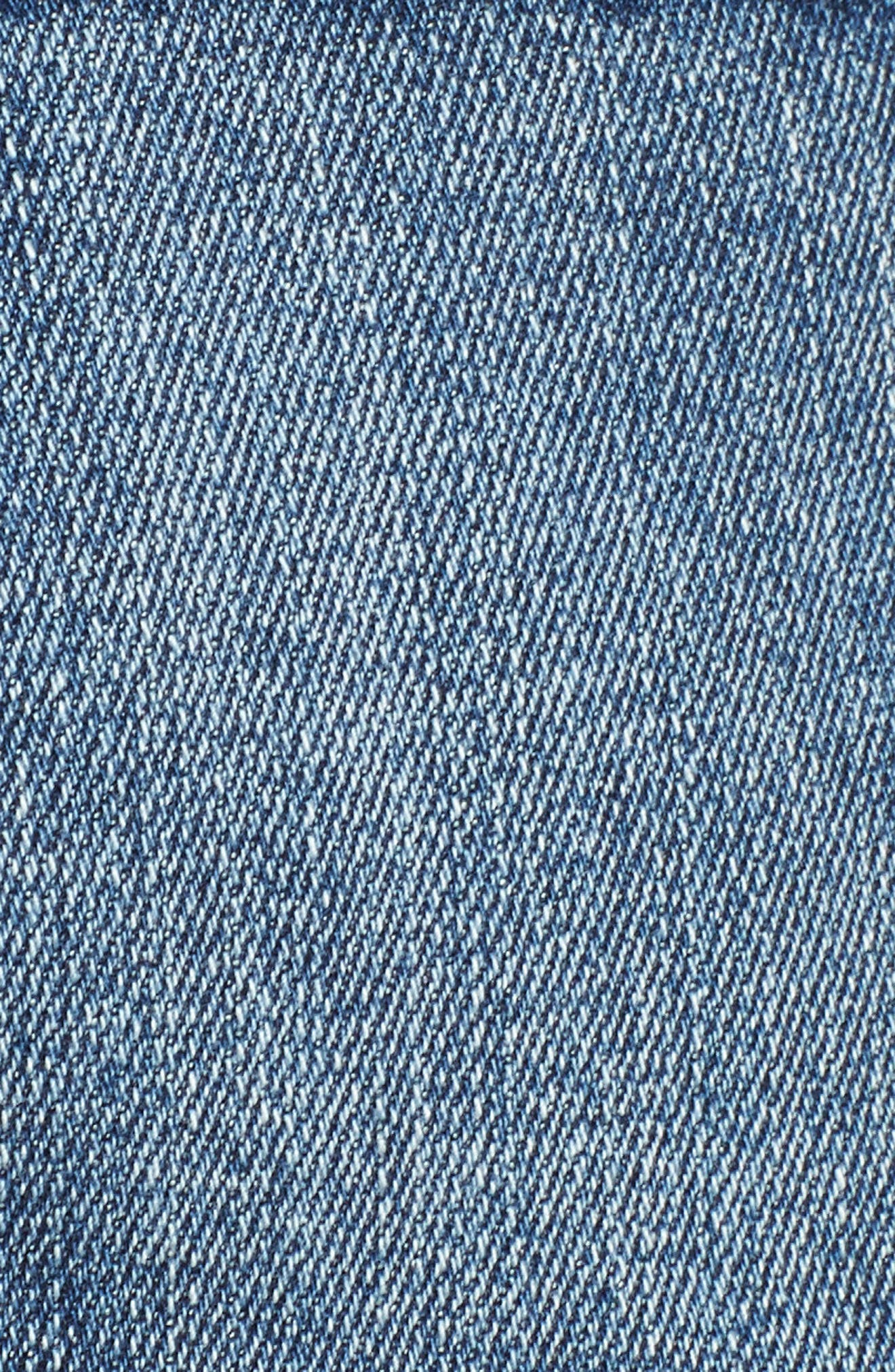 Fray Hem Star Print Denim Shorts,                             Alternate thumbnail 6, color,                             Bissell