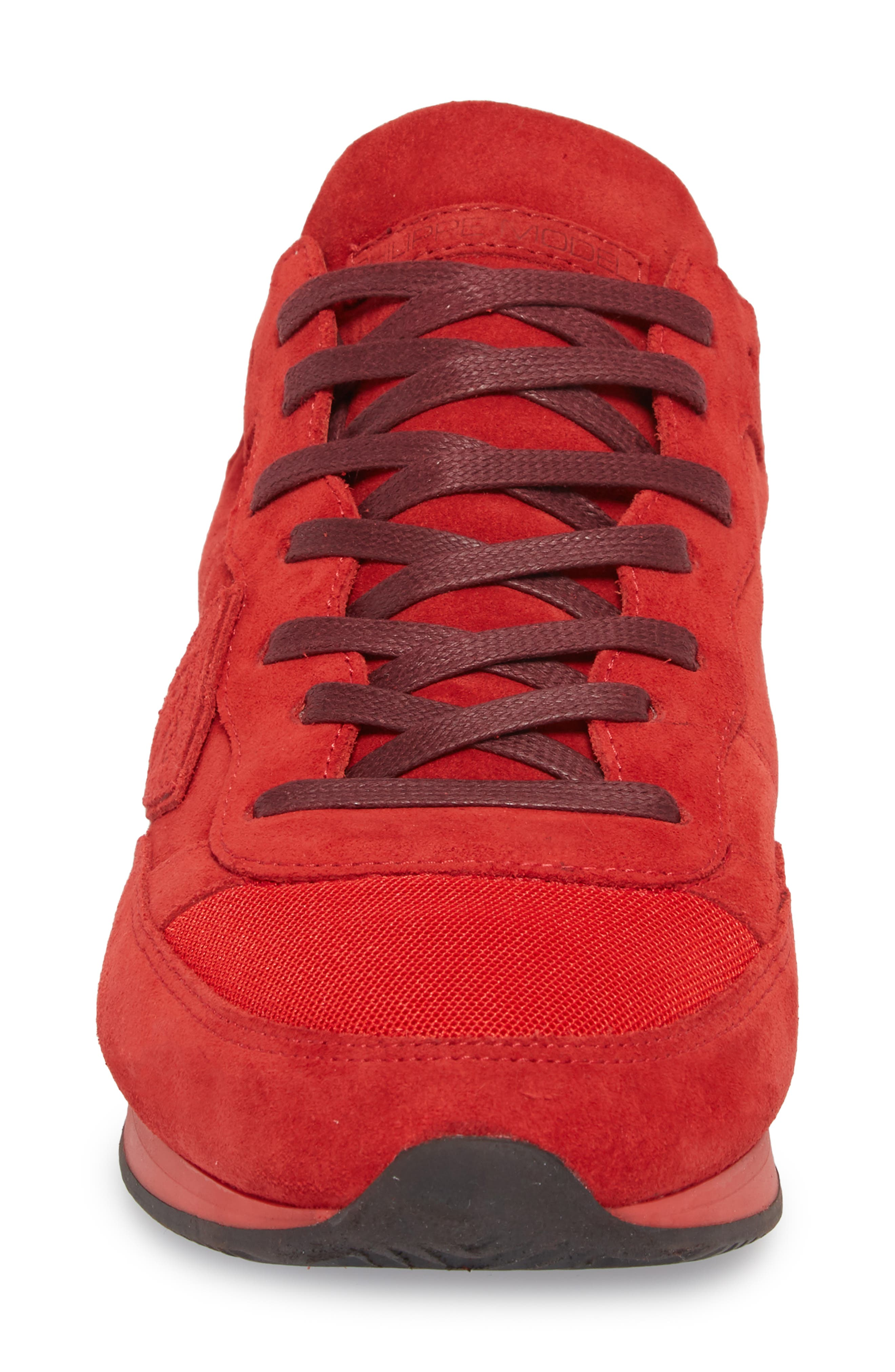 Tropez Low Top Sneaker,                             Alternate thumbnail 4, color,                             Red Suede