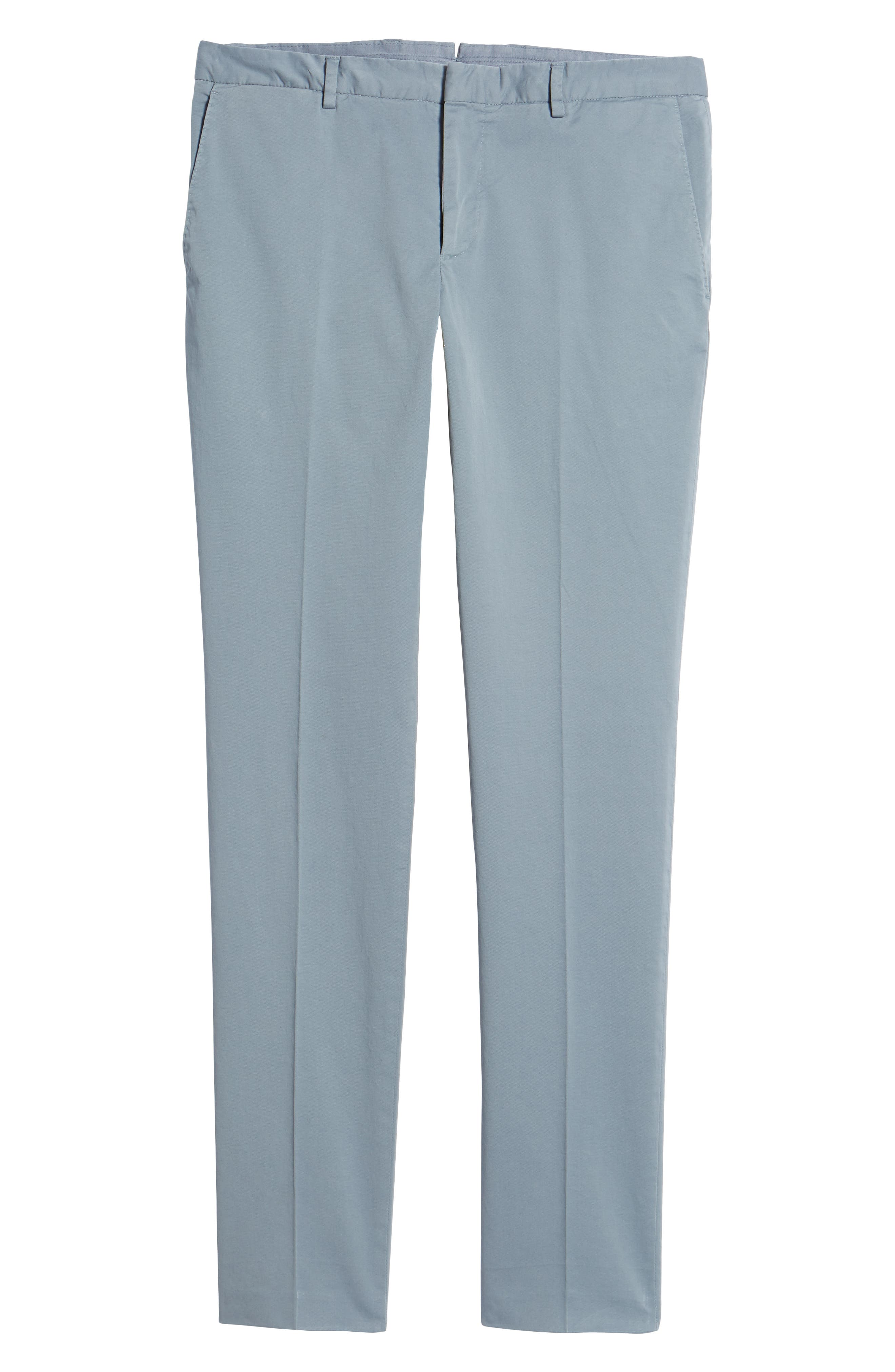 Barlow-D Flat Front Stretch Solid Cotton Trousers,                             Alternate thumbnail 6, color,                             Blue