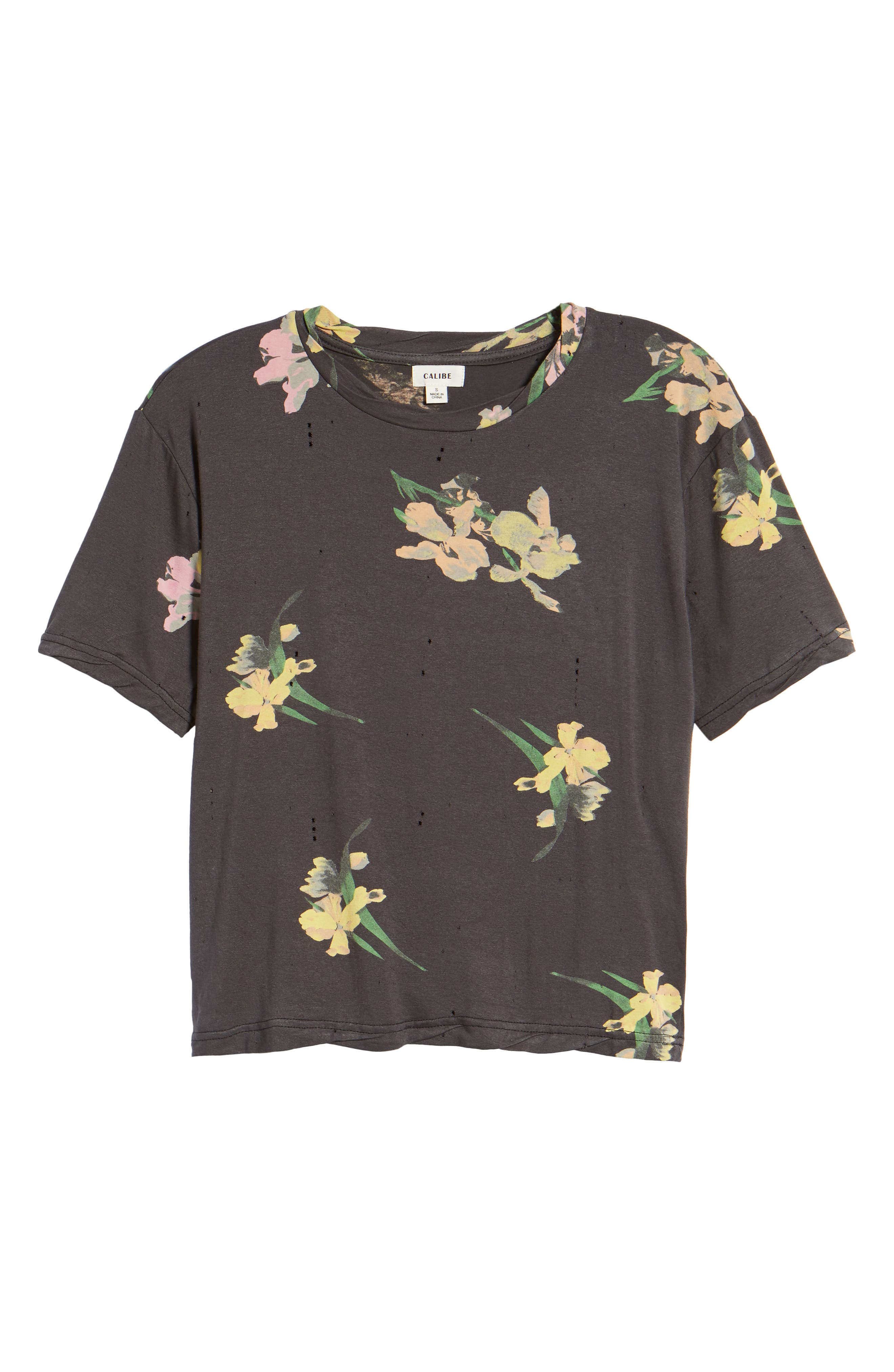Floral Print Distressed Tee,                             Alternate thumbnail 7, color,                             Black Ground Floral