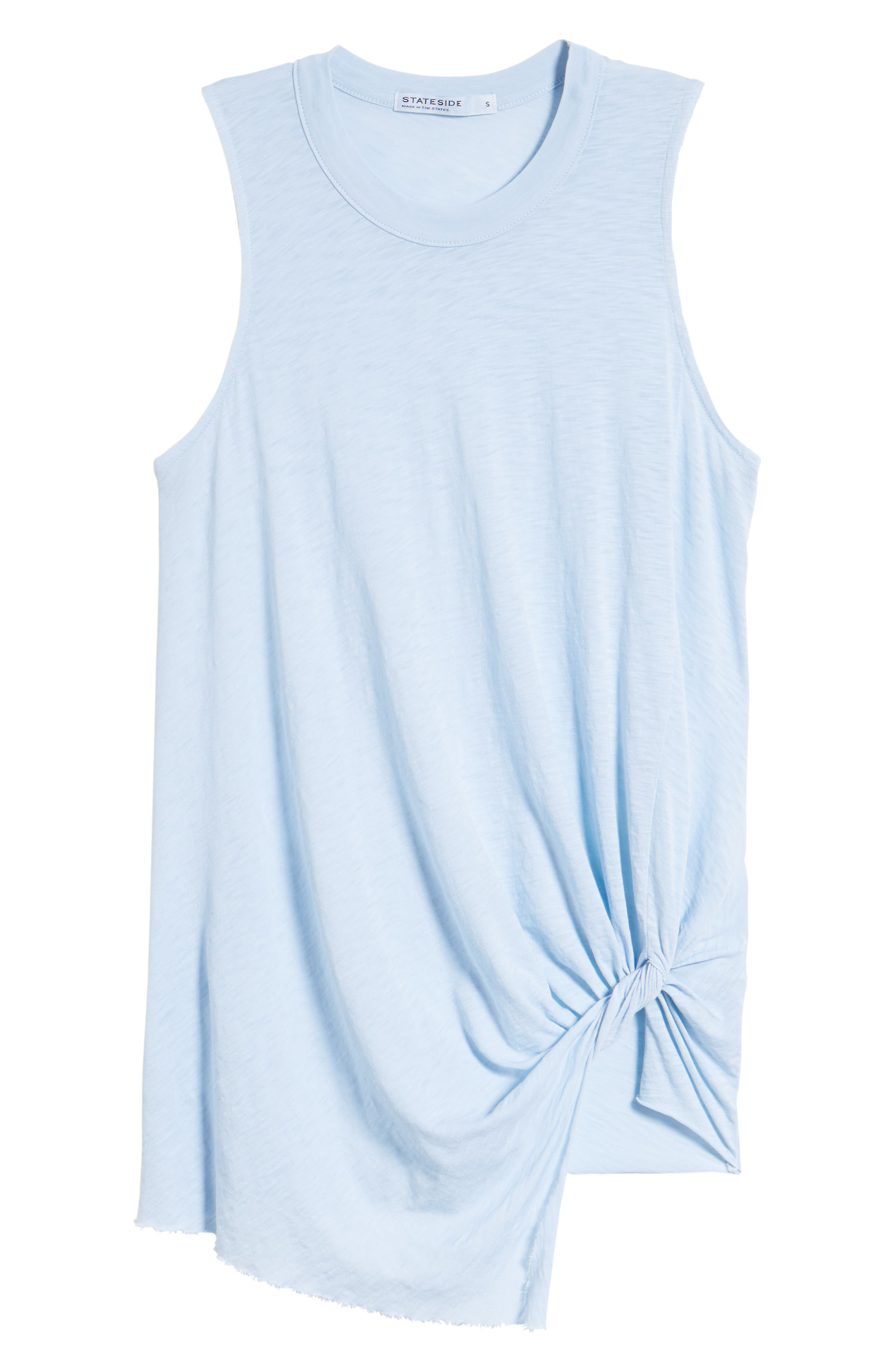 Twist Hem Slub Supima<sup>®</sup> Cotton Tank,                             Alternate thumbnail 7, color,                             Celeste