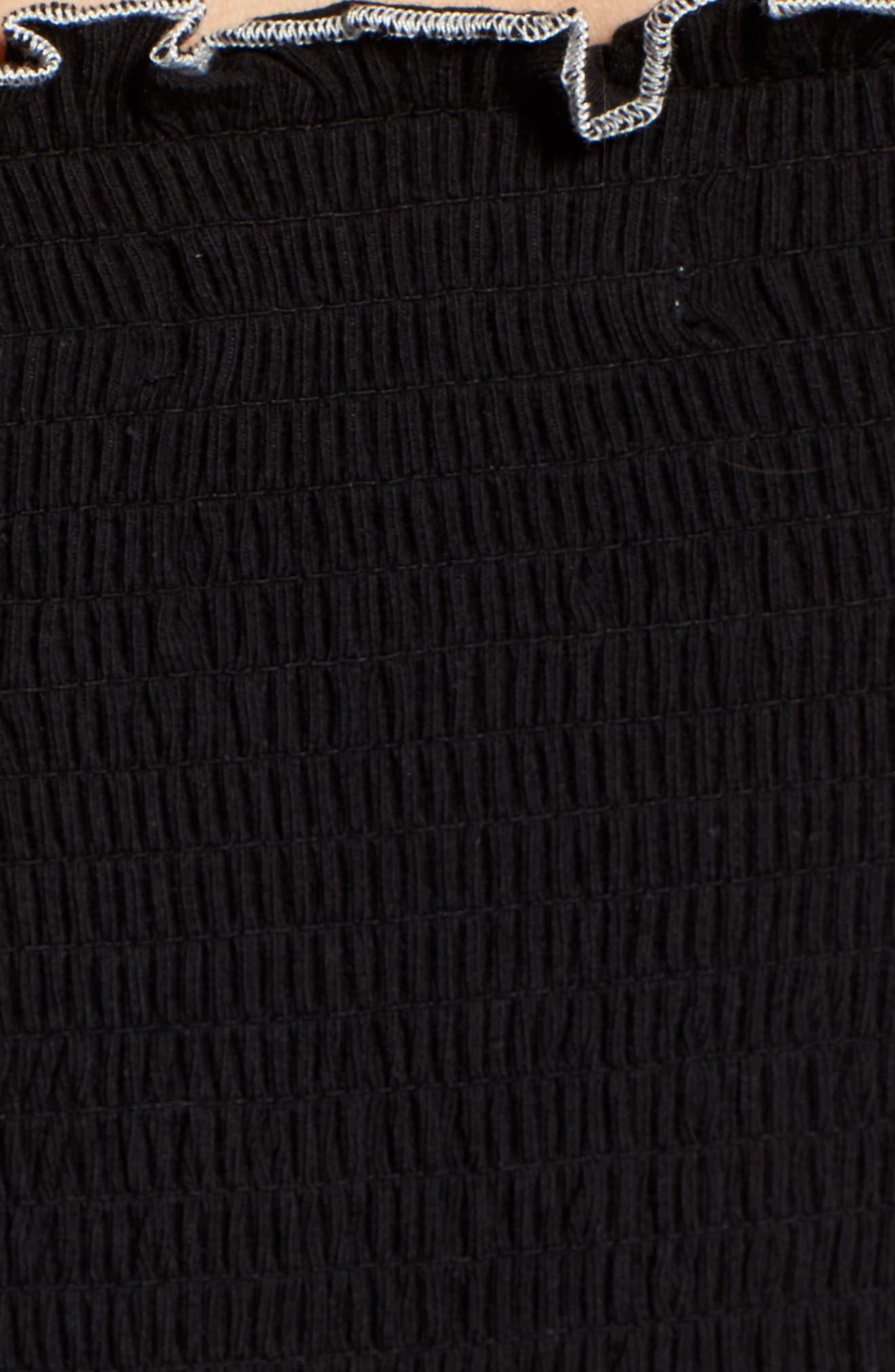 Smocked Tube Top,                             Alternate thumbnail 5, color,                             Black W/ White Trim