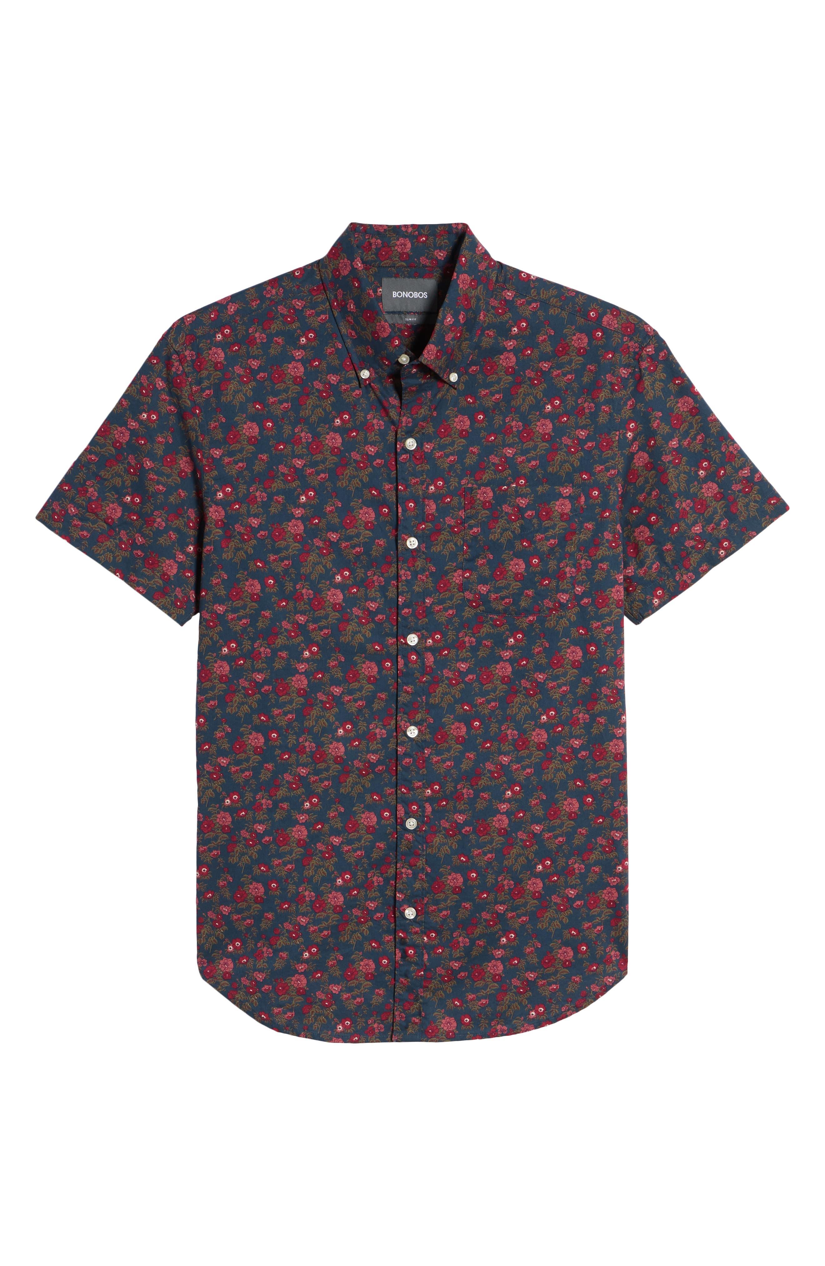 Riviera Slim Fit Floral Print Sport Shirt,                             Alternate thumbnail 6, color,                             Dandy Floral - Pickled Beet